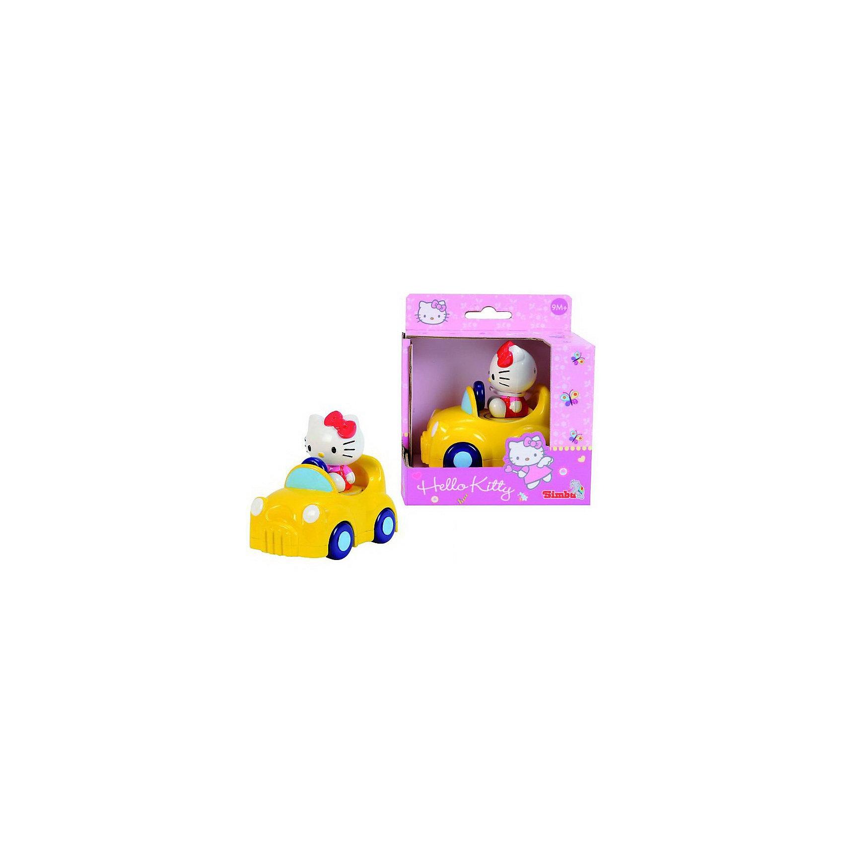 Simba                 Машинка Hello KittyМашинки и транспорт для малышей<br>Яркая желтая машинка с милой кошечкой из серии Hello Kitty При нажатии на котенка машинка начинает двигаться. Игрушка с крупными скругленными деталями безопасна для самых маленьких.<br><br>Дополнительная информация: <br><br>- Размер игрушки:  11 см.<br>- Размер упаковки: 19,8 х 5,5 х 15 см.<br><br>Эта симпатичная машинка доставит много радости самым маленьким<br>Купить машинку можно в нашем магазине<br><br>Ширина мм: 140<br>Глубина мм: 90<br>Высота мм: 120<br>Вес г: 186<br>Возраст от месяцев: 12<br>Возраст до месяцев: 60<br>Пол: Унисекс<br>Возраст: Детский<br>SKU: 2497488