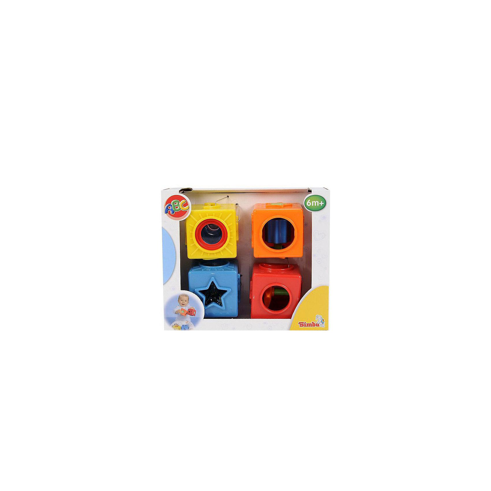 Развивающие кубики, SimbaХарактеристики:<br><br>• количество в комплекте: 4 кубика;<br>• сторона кубика: 7 см;<br>• размер упаковки: 24х9х20 см;<br>• вес: 590 г.<br><br>Развивающие кубики для самых маленьких содержат в себе различные головоломки для малышей. Внутри кубиков имеются встроенные барабаны, трещотки, контейнеры с шариками. Малыш изучает цвета и формы, знакомится с рельефами и выпуклостями. В процессе игры развивается логическое мышление, причинно-следственные связи, координация движений. <br><br>Развивающие кубики, Simba можно купить в нашем магазине.<br><br>Ширина мм: 235<br>Глубина мм: 200<br>Высота мм: 940<br>Вес г: 1080<br>Возраст от месяцев: 0<br>Возраст до месяцев: 1188<br>Пол: Унисекс<br>Возраст: Детский<br>SKU: 2497500