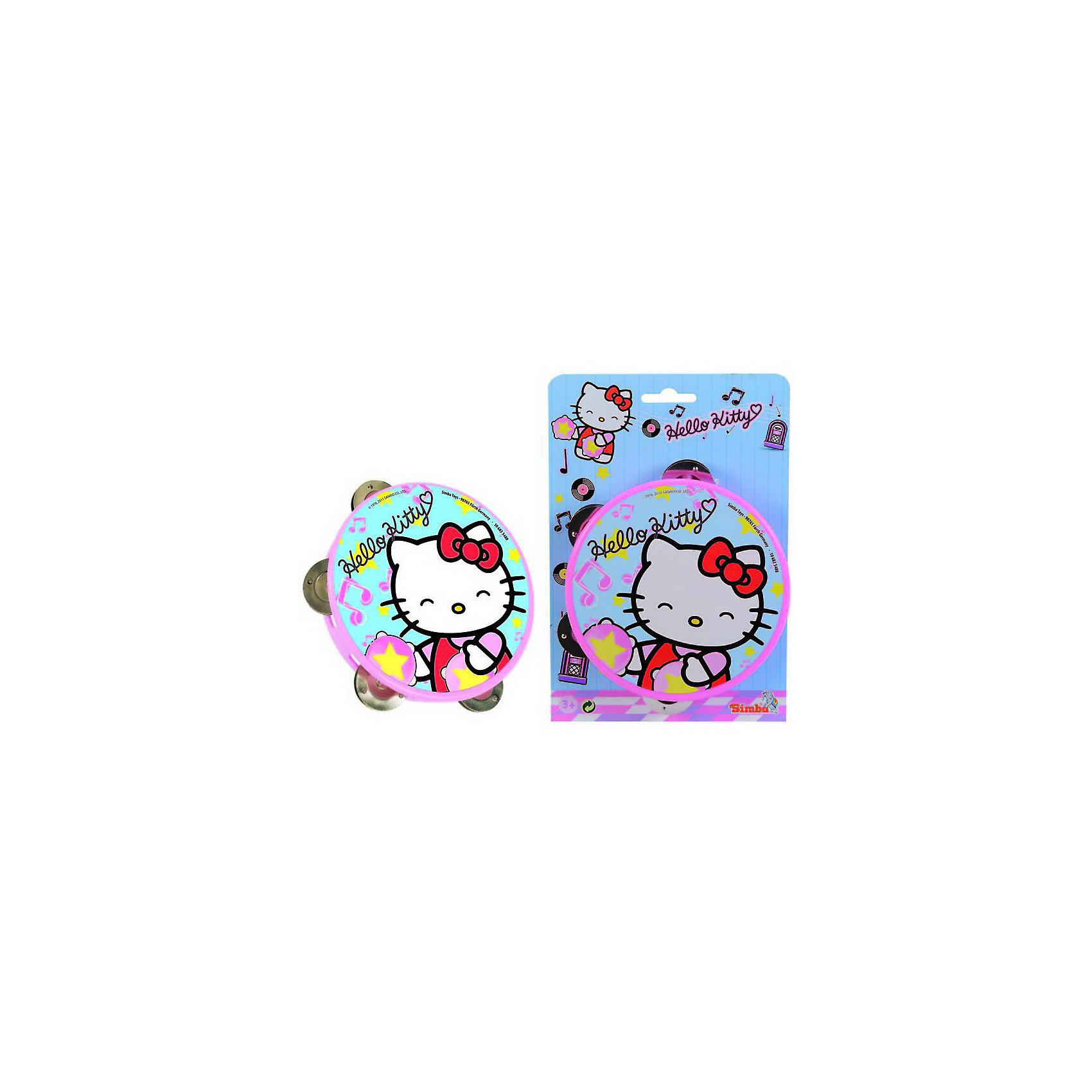 Simba                 Тамбурин Hello KittyИгрушки<br>Симпатичный розовый бубен с изображением белой кошечки Hello Kitty. В бубне с 4 металлические тарелочки, которые издают приятный мелодичный звук  при ударе в бубен.<br><br>Дополнительная информация:<br><br>- Материал: пластик и металл<br>- Размер игрушки: 15 см. <br>- Размер упаковки: 25 х 3,4 х 17 см.<br>- Вес:  0,126 кг.<br><br>Развивает мелкую моторику, музыкальный слух. и чувство ритма  <br><br>Приобрести бубен можно в нашем магазине<br><br>Ширина мм: 170<br>Глубина мм: 40<br>Высота мм: 250<br>Вес г: 126<br>Возраст от месяцев: 36<br>Возраст до месяцев: 1188<br>Пол: Унисекс<br>Возраст: Детский<br>SKU: 2497503