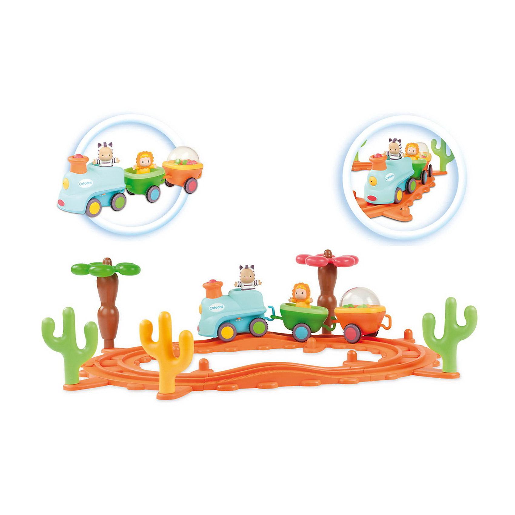 Smoby Музыкальная железная дорогаИгрушечная железная дорога<br>В набор входит паровозик с тремя вагончиками, рельсы из пластмассы, и несколько импровизированных кактусов. В паровозике и вагонах сидят главные персонажи сериала Сotoons. Все персонажи легко вынимаются из своих мест. Еще один вагончик засыпан погремушками и во время движения поезда игрушка становится - погремушкой. А еще, во время движения музыкального поезда по железной дороге, персонажи начинают двигаться - кто-то вверх-вниз, кто-то кружиться по кругу.<br><br>Ширина мм: 400<br>Глубина мм: 150<br>Высота мм: 280<br>Вес г: 1619<br>Возраст от месяцев: 0<br>Возраст до месяцев: 1188<br>Пол: Унисекс<br>Возраст: Детский<br>SKU: 2497530