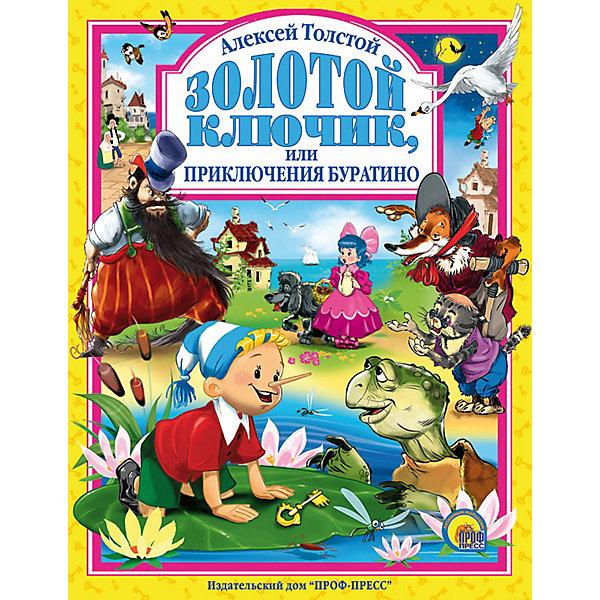 Золотой ключик или приключения Буратино, А. ТолстойСоветские мультфильмы<br>Подарочное издание. <br><br>Когда я был маленький - очень, очень давно, - я читал одну книжку: она называлась Пиноккио, или Похождения деревянной куклы (деревянная кукла по-итальянски - буратино). Я часто рассказывал моим товарищам, девочкам и мальчикам, занимательные приключения Буратино. Но так как книжка потерялась, то я рассказывал каждый раз по-разному, выдумывал такие похождения, каких в книге совсем и не было. Теперь, через много-много лет, я припомнил моего старого друга Буратино и надумал рассказать вам, девочки и мальчики, необычайную историю про этого деревянного человечка. Алексей Толстой<br><br>Такая книга - чудесный подарок ребенку к любому празднику.<br><br>Материал: бумага, переплет с глянцевой ламинацией. <br>Книга содержит 144 стр.<br>Ширина мм: 200; Глубина мм: 16; Высота мм: 265; Вес г: 438; Возраст от месяцев: 36; Возраст до месяцев: 72; Пол: Унисекс; Возраст: Детский; SKU: 2499693;