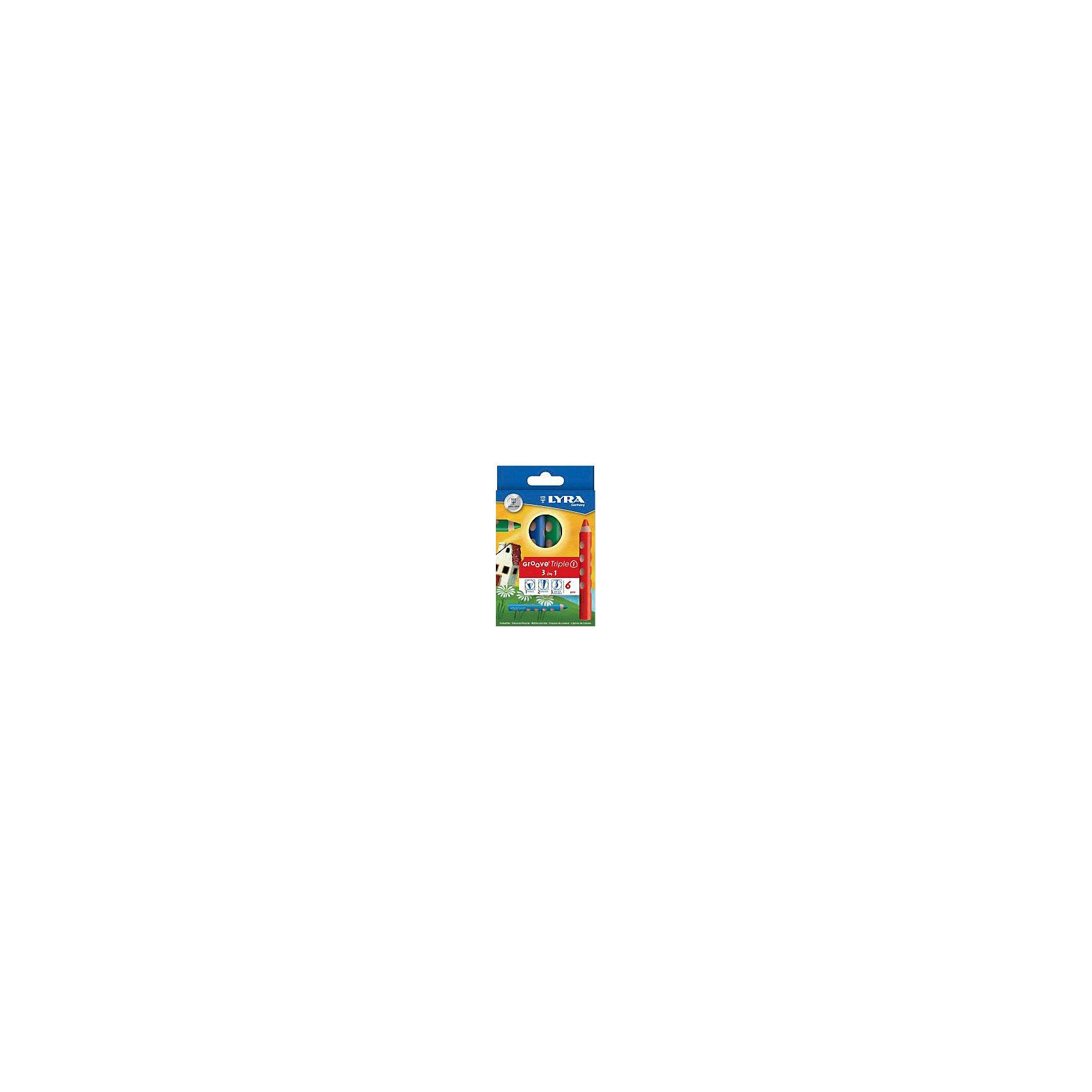 Цветные карандаши 3 в 1: цветной карандаш, акварельный карандаш, восковый мелок, 6 шт.Письменные принадлежности<br>Характеристики товара:<br><br>• в комплекте: 6 карандашей;<br>• материал: дерево;<br>• размер карандаша: 16,5х120 мм;<br>• толщина грифеля: 10 мм;<br>• размер упаковки: 14,5х9х1,5 см;<br>• вес: 105 грамм;<br>• возраст: от 3 лет.<br><br>Lyra GROOVE TRIPLE ONE - набор карандашей 3 в 1: цветной карандаш, восковой мелок, акварельный карандаш. Карандаши удобны для детских рук благодаря большому размеру и круглым выемкам на корпусе. Грифель карандаша выдерживает сильное нажатие, не ломается и хорошо затачивается. Карандаши изготовлены из качественной сертифицированной древесины.<br><br>Lyra (Лира) GROOVE TRIPLE ONE Карандаши цветные 3 в 1 (цветной кар, акварельный кар, восковый мелок) 6 цв можно купить в нашем интернет-магазине.<br><br>Ширина мм: 147<br>Глубина мм: 96<br>Высота мм: 20<br>Вес г: 97<br>Возраст от месяцев: 36<br>Возраст до месяцев: 1188<br>Пол: Унисекс<br>Возраст: Детский<br>SKU: 2502129