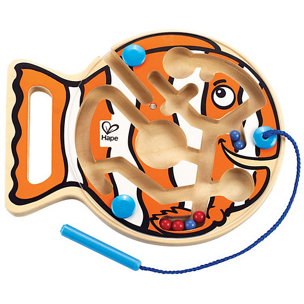 Игрушка деревянная Рыбка, HapeДеревянные игрушки<br>Внутри лабиринта находятся разноцветные шарики-магниты, малыш подносит<br> указку к шарику, тот примагничивается и он передвигает его по лабиринтам в нужный отсек. На передней панели паровозика расположена прозрачная пластиковая панель, которая надежно хранит шарики внутри. Указка прикреплена к лабиринту текстильным шнуром. Игрушка способствует развитию моторики, стимулирует визуальное восприятие, когнитивное мышление, развивает интеллектуальные способности и воображение.<br>Ширина мм: 258; Глубина мм: 208; Высота мм: 40; Вес г: 320; Возраст от месяцев: 24; Возраст до месяцев: 48; Пол: Унисекс; Возраст: Детский; SKU: 2503721;