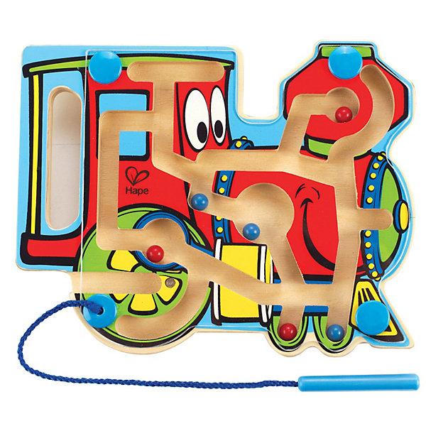 Игрушка деревянная Паровозик-лабиринт, HapeРазвивающие игрушки<br>Внутри лабиринта находятся разноцветные шарики-магниты, малыш подносит указку к шарику, тот примагничивается и он передвигает его по лабиринтам в нужный отсек. На передней панели паровозикарасположенапрозрачная пластиковая панель, которая надежно хранит шарики внутри. Указка прикреплена к лабиринту текстильным шнуром. Игрушка способствует развитию моторики, стимулирует визуальное восприятие, когнитивное мышление, развивает интеллектуальные способности и воображение. Размер упаковки: 20 х 3 х 25 см <br>Размер игрушки: 19.6 х 15.6 х 2 см<br><br>Ширина мм: 21<br>Глубина мм: 156<br>Высота мм: 195<br>Вес г: 240<br>Возраст от месяцев: 24<br>Возраст до месяцев: 48<br>Пол: Унисекс<br>Возраст: Детский<br>SKU: 2503722