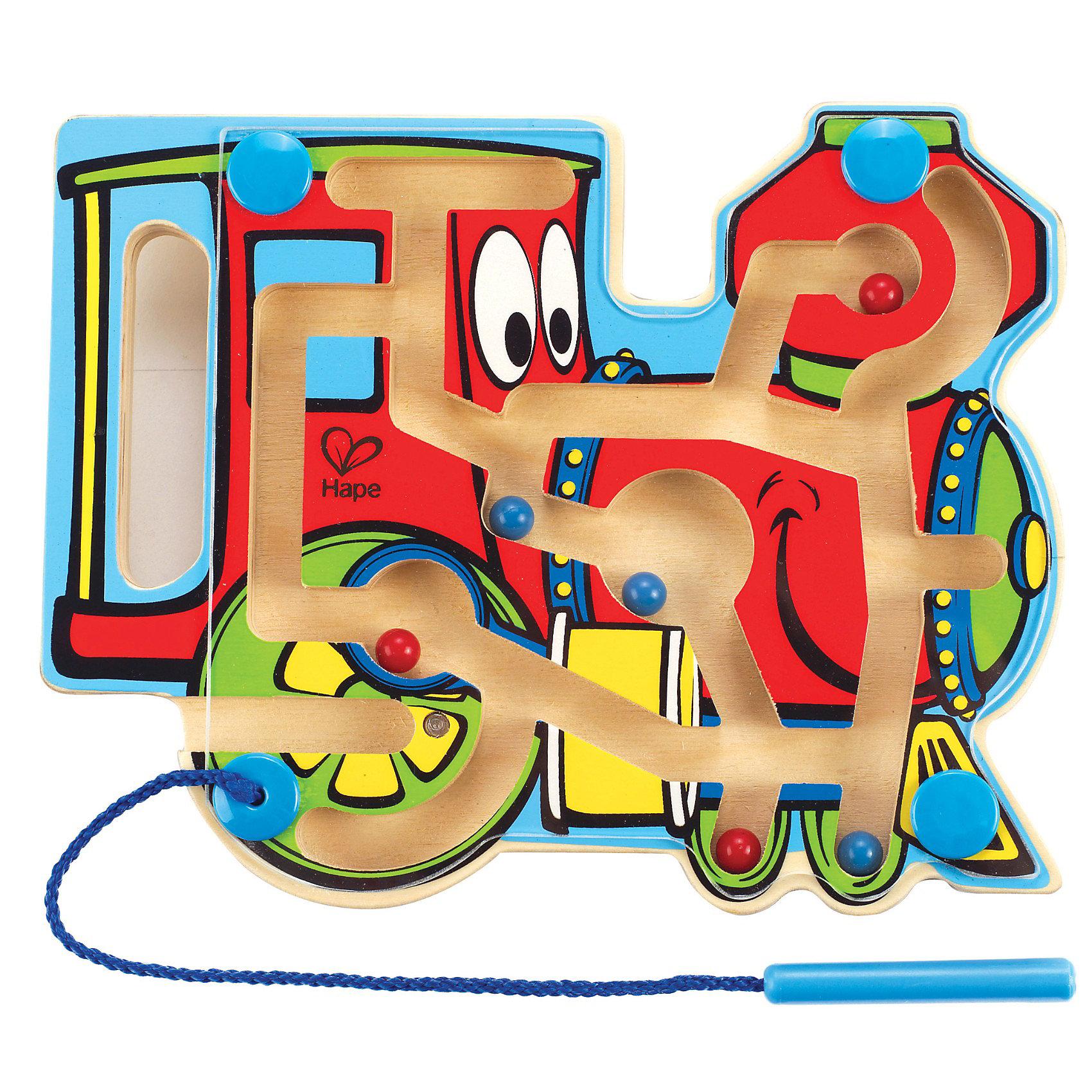 Игрушка деревянная Паровозик-лабиринт, HapeЛабиринты<br>Внутри лабиринта находятся разноцветные шарики-магниты, малыш подносит указку к шарику, тот примагничивается и он передвигает его по лабиринтам в нужный отсек. На передней панели паровозикарасположенапрозрачная пластиковая панель, которая надежно хранит шарики внутри. Указка прикреплена к лабиринту текстильным шнуром. Игрушка способствует развитию моторики, стимулирует визуальное восприятие, когнитивное мышление, развивает интеллектуальные способности и воображение. Размер упаковки: 20 х 3 х 25 см <br>Размер игрушки: 19.6 х 15.6 х 2 см<br><br>Ширина мм: 21<br>Глубина мм: 156<br>Высота мм: 195<br>Вес г: 240<br>Возраст от месяцев: 24<br>Возраст до месяцев: 48<br>Пол: Унисекс<br>Возраст: Детский<br>SKU: 2503722