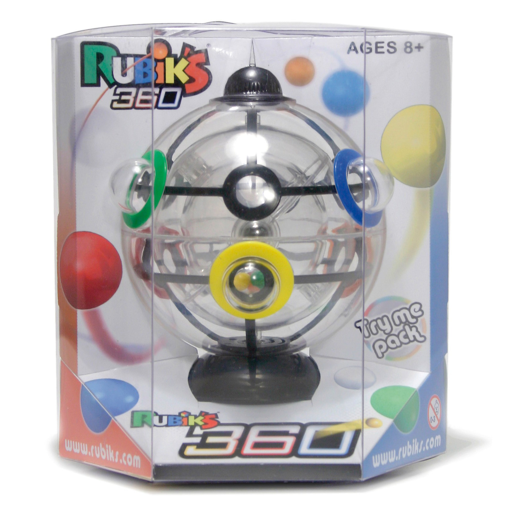 Головоломка Шарик Рубика, RubiksГоловоломки<br>Rubiks Шарик Рубика - настоящий шедевр от профессора Рубика (он же Шар Рубика, Рубикс 360 или Сфера Рубика). <br><br>Эта новая головоломка от Рубикс ничем не похожа на кубик Рубика: она круглая, а не квадратная, прозрачная, а не разноцветная. Это новый Рубикс, это Шарик Рубика!<br><br>    Шесть цветных шариков<br>    Три прозрачных сферы<br>    И.. всего одно решение!<br><br>Разгадать тайну Шарика будет не просто. На этот раз профессор Эрно Рубик создал головоломку абсолютно другого измерения: вместо ставших кллассикой кубических элементов, у Шарика -  3 подвижных сферы.  Для решения понадобится не только логика, но и концентрация, ловкость, сноровка и контроль над гравитацией!<br><br>Задача: расположить цветные шарики, находящиеся внутри самой маленькой прозрачной сферы в лунки соответствующего цвета на самой большой, внешней сфере. Сложность в том, что между внутренней и внешней прозрачной сферой крутится средняя по размеру сфера, у которой всего 2 отверстия-выхода, через которые и нужно провести цветные шарики в процессе их пути наружу, в цветные лунки внешей сферы!<br><br>Ширина мм: 140<br>Глубина мм: 120<br>Высота мм: 165<br>Вес г: 280<br>Возраст от месяцев: 72<br>Возраст до месяцев: 1188<br>Пол: Унисекс<br>Возраст: Детский<br>SKU: 2504420