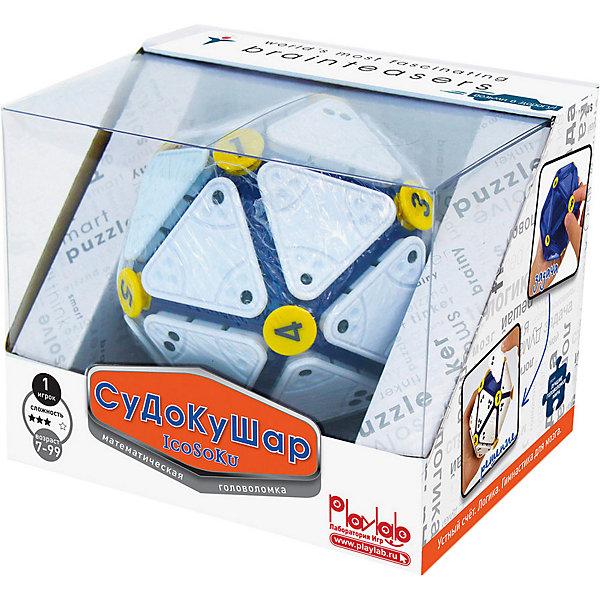 Головоломка Судоку-Шар, Recent ToysОбъёмные головоломки<br>Recent Toys Головоломка Судоку-Шар (IcoSoKu) – это новая головоломка про принципу судоку, стимулирующая развитие вычислительных и математических способностей.<br><br>Головоломка состоит из шарообразного каркаса, 12 желтых фишек с цифрами и 20 белых треугольных плиток с точками от 0 до 3 на углах.<br><br>Золотая награда за Восхитительный продукт, развивающий мышление и обучающий в игровой форме от Tillywig Toy Awards (USA).<br>Серебряный приз в номинации Веселая игрушка, обучающая ребенка полезным навыкам от Parents Choice (USA).<br><br><br>Стандартные правила:<br><br>В начале игры необходимо полностью расчистить поле, сняв с каркаса фишки с цифрами и плитки с точками. Затем нужно расставить в произвольном порядке все желтые фишки с цифрами, обозначив таким образом целевые точки. Теперь нужно, одну за одной, расположить плитки на поверхности головоломки таким образом, чтобы сумма точек, примыкающих к фишке была равна цифре на фишке.<br><br><br>Детские правила:<br><br>Известно, что многие дети, столкнувшись с новой задачей пугаются ее. Для того, чтобы это не происходило, психологи рекомендуют начинать с упрощенной задачи, постепенно усложняя ее.<br><br>В Судоку-Шаре этот принцип реализуется через постепенное увеличение количества фишек с цифрами. Начав всего с 1 фишки и правильно расставив 5 первых плиток вокруг нее, ребенок сразу получает успешный опыт решения головоломки и втягивается в игру. Расставляя дополнительные желтые фишки с цифрами, он незаметно для себя начинает решать все более и более сложную задачу. Сложность игры тем выше, чем больше желтых фишек будет расставлено в начале.<br><br>Головоломка полностью собрана, когда все плитки с точками расставлены так, что сумма точек вокруг каждой из 12 фишек равна цифре на соответствующей фишке.<br><br>Совет! Для того, чтобы начать новую игру не обязательно снимать все фишки и плитки – достаточно просто поменять местами несколько желтых фишек с цифрами и на