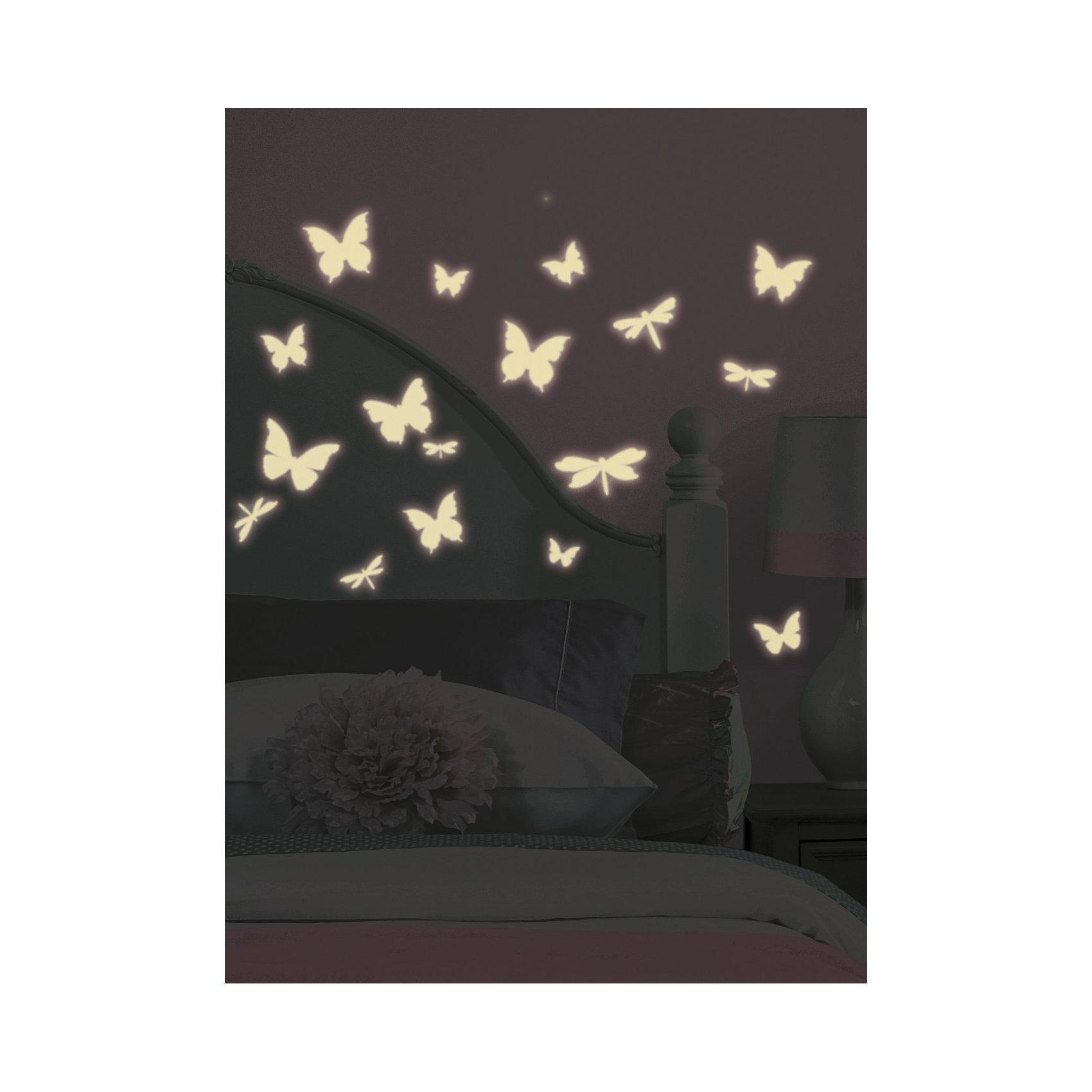 RoomMates Наклейки для декора Бабочки и стрекозы (светятся в темноте) наклейки интерьерные roommates наклейки для декора зебра полоски розовые