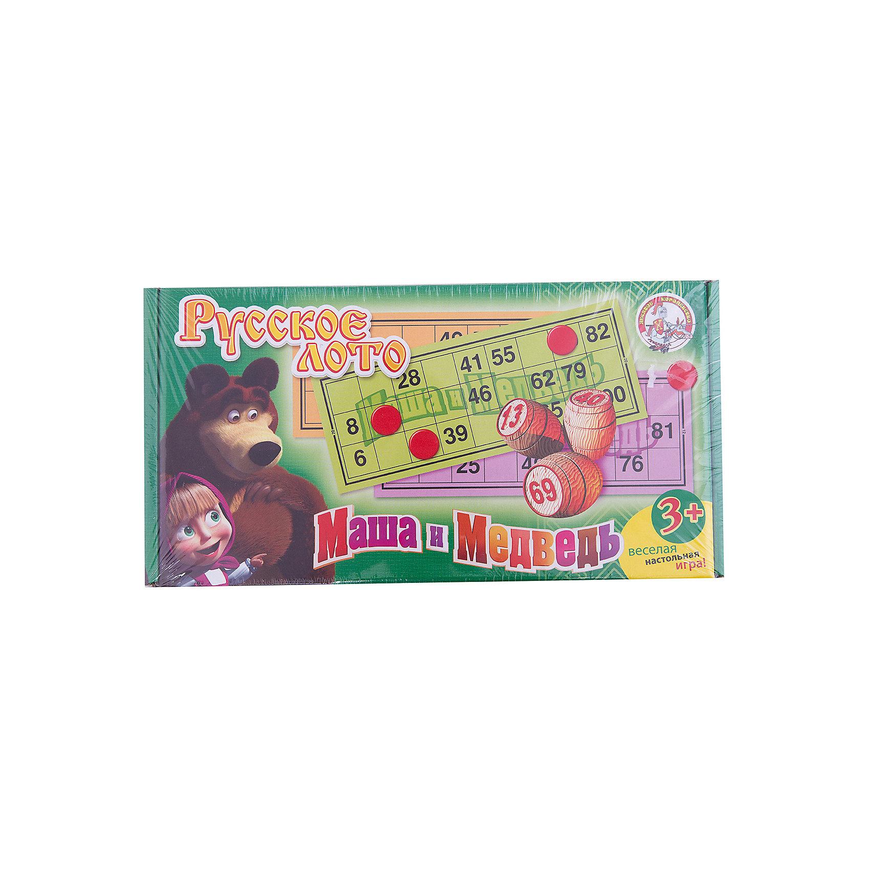 Лото деревянное, Маша и МедведьМаша и Медведь<br>Русское лото «Маша и медведь» представляет собой увлекательную деревянную игрушку, которая станет интересной не только детям, но и взрослым. <br>Цель игры: нужно как можно быстрее заполнить свои цветные карточки. <br><br>Дополнительная информация:<br><br>В игровой набор входит всё необходимое, начиная от комплекта карточек в количестве 24 штуки и заканчивая деревянными бочонками с номерами (90 штук) и мешком, а также пластмассовые жетоны (100 шт). <br><br>Великолепный способ провести вечер в семейном или дружеском кругу.<br><br>Ширина мм: 305<br>Глубина мм: 155<br>Высота мм: 60<br>Вес г: 910<br>Возраст от месяцев: 36<br>Возраст до месяцев: 1188<br>Пол: Унисекс<br>Возраст: Детский<br>SKU: 2513120