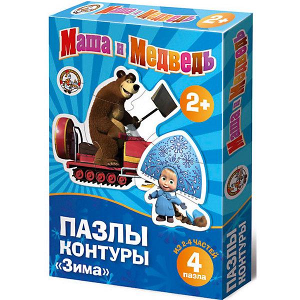 """Набор контурных пазлов """"Зима"""", 4х2/4 детали, Маша и Медведь"""