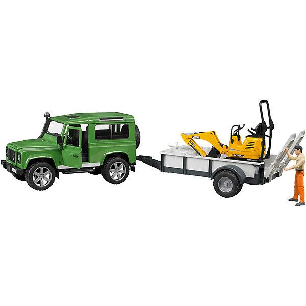 Внедорожник Land Rover c прицепом-платформой,  BruderМашинки<br>Внедорожник Land Rover Defender c прицепом-платформой, гусеничным мини-экскаватором 8010 CTS и рабочим Bruder (Брудер) - увлекательный игровой набор, который порадует любого ребенка и даже взрослого. Автотехника Брудер отличается высоким качеством исполнения и проработкой всех деталей и представляет для ребенка большую познавательную ценность.<br><br>Особенности автомобиля: управлять машиной можно как изнутри кабины, так и снаружи - через раздвижную крышу с помощью вставного рулевого стержня. Кабина оснащена рулем, который вращается и управляет передними колесами. Задние сиденья съемные. Капот можно открыть и зафиксировать, под капотом находится декоративный двигатель.<br><br>Прицеп-платформа оснащена опорой, тягово-сцепным устройством и ящиком для инструментов. Задний борт платформы опускается, выдвигается трап, по которому можно загружать автомобили и дополнительную технику на платформу.<br><br>Платформа гусеничного мини-экскаватора поворачивается на 360°, ковш опускается и поднимается. Колёса прорезинены.<br><br>Дополнительная информация:<br><br>- В наборе: внедорожник, прицеп-платформа, мини экскаватор, фигурка рабочего.<br>- Материал: высококачественный пластик, резина. <br>- Размер игрушки:  66 х 22,2 х 17,5 см.<br>- Размер упаковки: 73 х 18 х 23 см.<br>- Вес: 1,6 кг.<br><br>Внедорожник Land Rover Defender c прицепом-платформой Bruder можно купить в нашем интернет-магазине.<br><br>Ширина мм: 661<br>Глубина мм: 182<br>Высота мм: 229<br>Вес г: 1403<br>Возраст от месяцев: 48<br>Возраст до месяцев: 96<br>Пол: Мужской<br>Возраст: Детский<br>SKU: 2514131