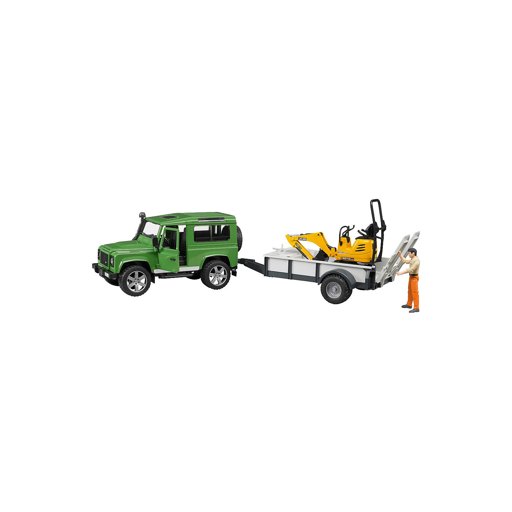 Внедорожник Land Rover c прицепом-платформой,  BruderВнедорожник Land Rover Defender c прицепом-платформой, гусеничным мини-экскаватором 8010 CTS и рабочим Bruder (Брудер) - увлекательный игровой набор, который порадует любого ребенка и даже взрослого. Автотехника Брудер отличается высоким качеством исполнения и проработкой всех деталей и представляет для ребенка большую познавательную ценность.<br><br>Особенности автомобиля: управлять машиной можно как изнутри кабины, так и снаружи - через раздвижную крышу с помощью вставного рулевого стержня. Кабина оснащена рулем, который вращается и управляет передними колесами. Задние сиденья съемные. Капот можно открыть и зафиксировать, под капотом находится декоративный двигатель.<br><br>Прицеп-платформа оснащена опорой, тягово-сцепным устройством и ящиком для инструментов. Задний борт платформы опускается, выдвигается трап, по которому можно загружать автомобили и дополнительную технику на платформу.<br><br>Платформа гусеничного мини-экскаватора поворачивается на 360°, ковш опускается и поднимается. Колёса прорезинены.<br><br>Дополнительная информация:<br><br>- В наборе: внедорожник, прицеп-платформа, мини экскаватор, фигурка рабочего.<br>- Материал: высококачественный пластик, резина. <br>- Размер игрушки:  66 х 22,2 х 17,5 см.<br>- Размер упаковки: 73 х 18 х 23 см.<br>- Вес: 1,6 кг.<br><br>Внедорожник Land Rover Defender c прицепом-платформой Bruder можно купить в нашем интернет-магазине.<br><br>Ширина мм: 670<br>Глубина мм: 225<br>Высота мм: 190<br>Вес г: 1420<br>Возраст от месяцев: 48<br>Возраст до месяцев: 96<br>Пол: Мужской<br>Возраст: Детский<br>SKU: 2514131