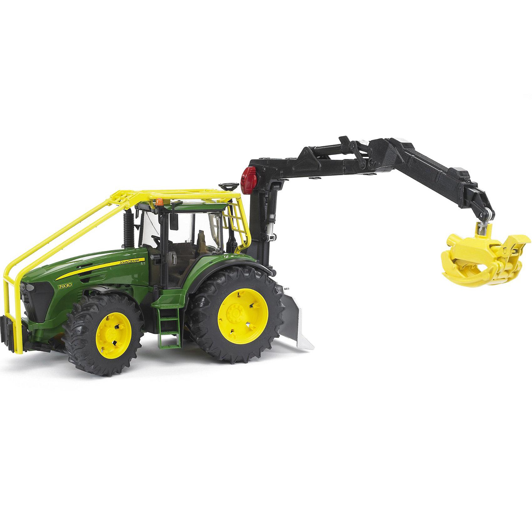 Трактор John Deere 7930 лесной с манипулятором, BruderКоллекционные модели<br>Трактор John Deere 7930 лесной с манипулятором Bruder (Брудер) это модель оригинальной техники в масштабе 1:16, которая станет замечательным подарком для Вашего ребенка. <br><br>Кабина трактора застеклена, оборудована вращающимся рулем, который поворачивает колеса на 45°, креслом и рычагом управления. Крышу кабины можно раздвинуть, вставить в нее рулевой стержень и управлять трактором сверху. Капот трактора открывается, предоставляя доступ к двигателю.<br><br>Манипулятор трактора подвижен, его можно зафиксировать в любом положении. В ковше манипулятора можно закреплять бревна и загружать их в прицеп. Трактор оснащён отвалом с крюком и фаркопом. На трактор можно устанавливать навесное оборудование или прицеп.<br><br>Крупные колёса трактора резиновые с протекторами, что обеспечивает тихий ход машины и сохранность напольного покрытия.<br><br>Дополнительная информация:<br><br>- Материал: высококачественный пластик, резина. <br>- Размер игрушки: 43,5 x 17,5 x 28,5 см. <br>- Размер упаковки: 52 х 19,5 х 27 см.  <br>- Вес: 1,63 кг. <br><br>Игровая техника Брудер развивает у ребенка логическое мышление и воображение, мелкую моторику, зрительное восприятие и память.<br><br>Трактор John Deere 7930 лесной  Bruder можно купить в нашем интернет-магазине.<br><br>Ширина мм: 510<br>Глубина мм: 265<br>Высота мм: 190<br>Вес г: 1608<br>Возраст от месяцев: 48<br>Возраст до месяцев: 96<br>Пол: Мужской<br>Возраст: Детский<br>SKU: 2514134