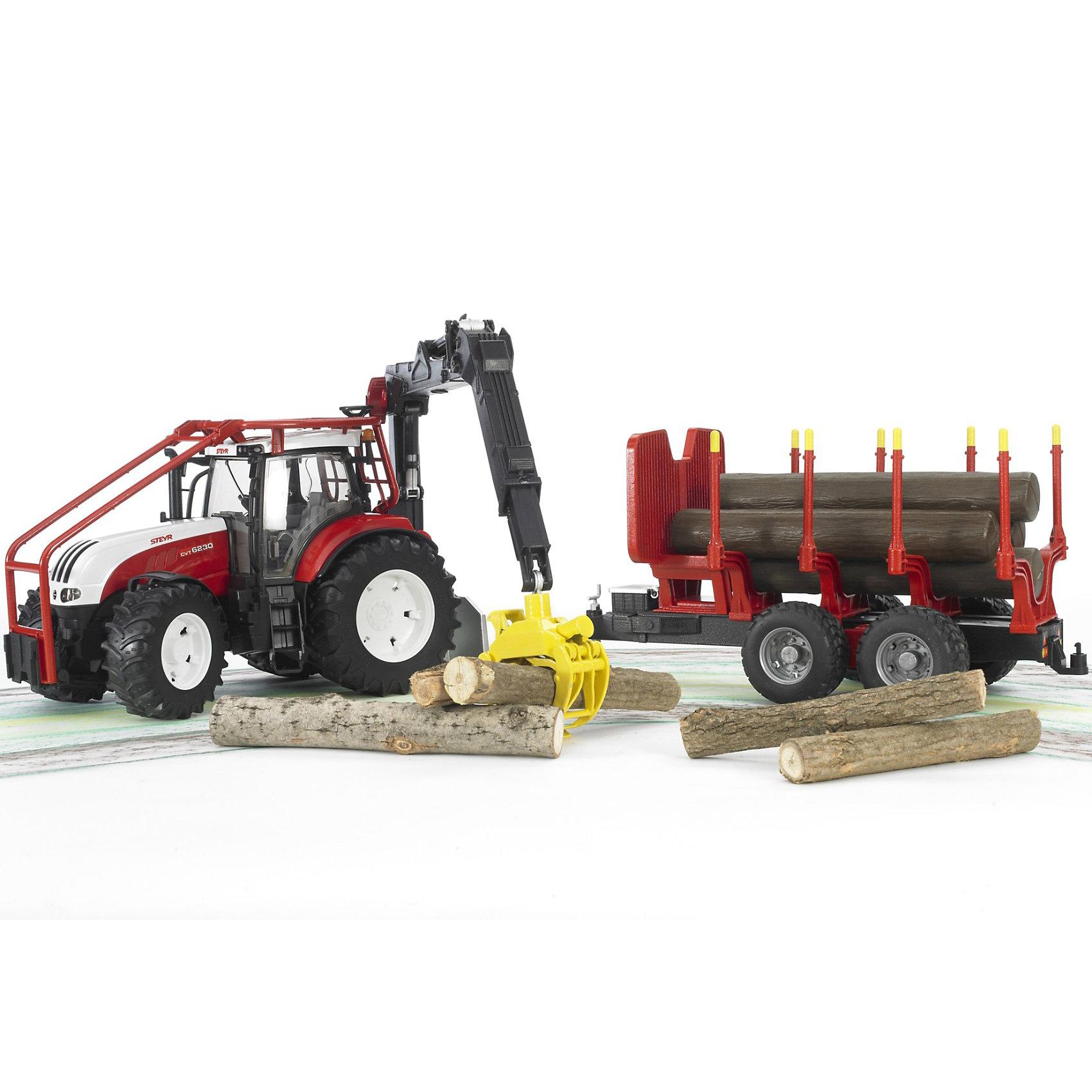 Трактор Steyr CVT 6230 лесной с манипулятором и прицепом с брёвнами, Bruder