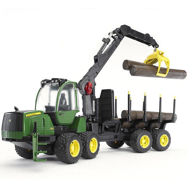Трактор John Deere 1210E, BruderМашинки<br>Трактор John Deere 1210E от Bruder (Брудер) - это уменьшенная модель настоящего трактора, выполненная в высоком качестве и с большим вниманием к деталям. Четырехосный трактор Джон Дир незаменим для лесного хозяйства и для перевозки бревен. Модель оснащена поворачивающейся на 360° кабиной с прозрачными стеклами, открывающимися дверями и сиденьем водителя внутри. Капот открывается для обзора двигателя. Передние колеса управляются с помощью руля в кабине или с помощью удлинителя руля, который устанавливается через люк в крыше кабины. На передней оси имеется амортизатор. Благодаря сцепному устройству, к трактору можно прицеплять другие модели масштаба 1:16.<br><br>В комплект также входит прицеп с манипулятором и держателями для бревен, расстояние между которыми можно регулировать. Манипулятор может менять угол наклона и поворота и фиксироваться в нужном положении. Прицеп оснащен тягово-сцепным устройством и двумя опорами для устойчивого положения . Колеса трактора и прицепа прорезинены, что обеспечивает сохранность напольного покрытия.<br><br>Дополнительная информация:<br><br>- Масштаб: 1:16.<br>- В комплекте: трактор, прицеп, четыре бревна, рулевой стержень. <br>- Материал: высококачественный пластик, резина. <br>- Размер: 64 х 16 х 22 см.<br>- Вес: 1,80 кг.<br><br>Трактор John Deere 1210E, Bruder (Брудер) можно купить в нашем интернет-магазине.<br><br>Ширина мм: 665<br>Глубина мм: 203<br>Высота мм: 256<br>Вес г: 1987<br>Возраст от месяцев: 48<br>Возраст до месяцев: 96<br>Пол: Мужской<br>Возраст: Детский<br>SKU: 2514139