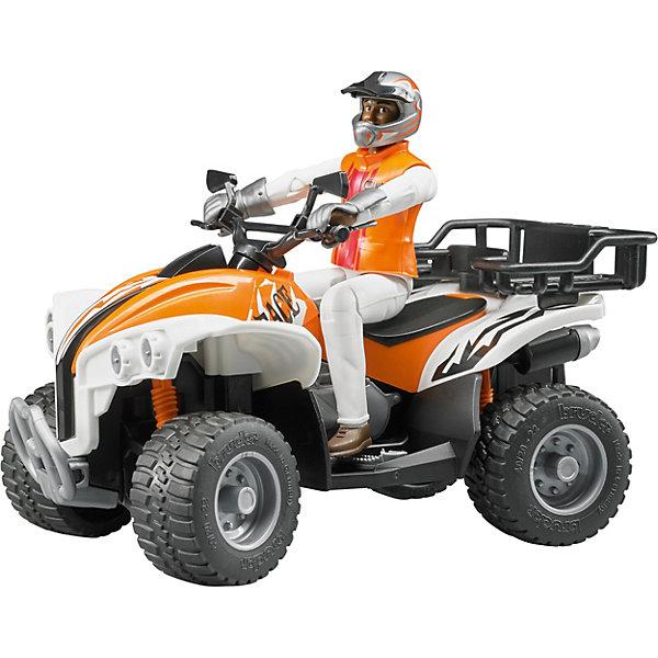 Квадроцикл с гонщиком, BruderМашинки<br>Квадроцикл с гонщиком, Bruder (Брудер) выполнен из пластика максимально реалистично. Фигурка гонщика может сгибаться в девяти точках. У него есть шлем, перчатки и другие элементы защитной экипировки.<br>Руль может поворачивать передние колеса квадроцикла. Квадроцикл оснащен амортизаторами, богажником для поклажи, зеркалами, подставкой для ног гонщика, выхлопной трубой и передним бампером.<br><br>Дополнительная информация:<br><br>Комплектация: квадроцикл и фигурка гонщика высотой 107 мм<br>Масштаб: 1:16<br>Размеры: 16 х 9,3 х 9,3 см<br>Съемный багажник<br>Поворотные передние колеса<br>Амортизаторы позволяют с комфортом перемещаться по пересеченной местности<br>Материал: пластик<br><br>Квадроцикл с гонщиком, Bruder (Брудер) можно купить в нашем магазине.<br>Ширина мм: 234; Глубина мм: 192; Высота мм: 116; Вес г: 358; Возраст от месяцев: 48; Возраст до месяцев: 96; Пол: Мужской; Возраст: Детский; SKU: 2514149;