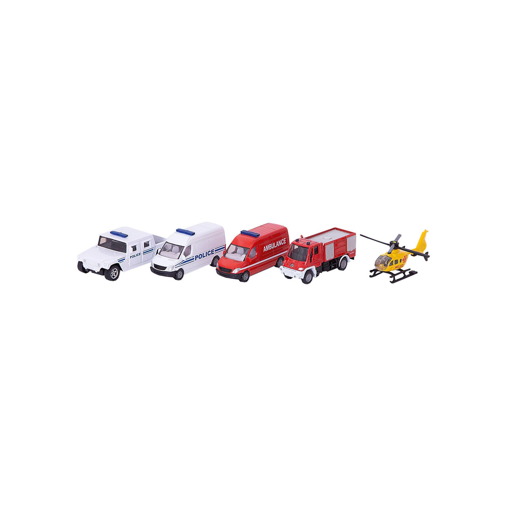 Набор «Спасательная техника», SIKUКоллекционные модели<br>С набором «Спасательная техника», SIKU (СИКУ) можно поиграть в увлекательную игру со спасательной техникой.<br><br>В комплект входят: вертолет, пожарный фургон, полицейский фургон, фургон скорой помощи, грузовой автомобиль Unimog. <br><br>Дополнительная информация:<br>-Размер упаковки: 28х11х5 см<br>-Материал: металл, пластиковые элементы<br><br>Набор металлических моделей машинок-отличный подарок мальчику на любой праздник.<br><br>Набор «Спасательная техника», SIKU (СИКУ) можно купить в нашем магазине.<br><br>Ширина мм: 285<br>Глубина мм: 109<br>Высота мм: 53<br>Вес г: 303<br>Возраст от месяцев: 36<br>Возраст до месяцев: 96<br>Пол: Мужской<br>Возраст: Детский<br>SKU: 2514154