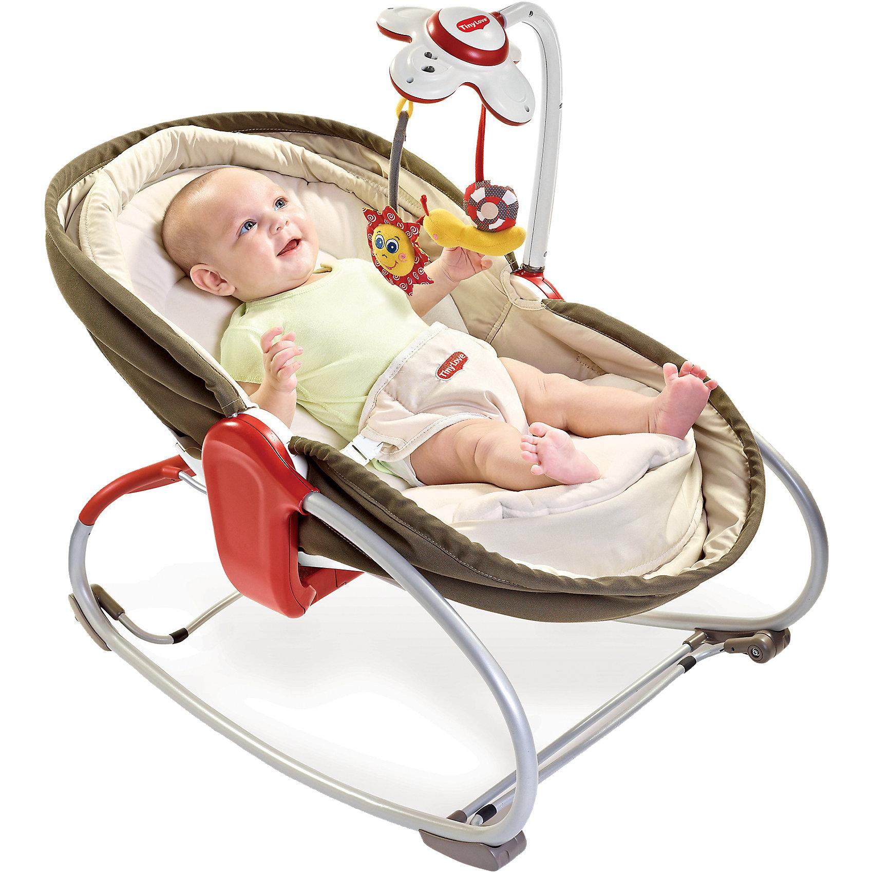 Люлька - баунсер 3 В 1, Tiny LoveЛюлька - баунсер 3 в 1, Бежевая - уникальная вещь 3-в-1 для сна и отдыха Вашего малыша!<br>Теперь баунсер можно использовать как полноценную кроватку-люльку для здорового сна вашего малыша, так как спинка кресла опускается на 180 градусов! Также можно поднять бортики люльки, чтобы ребенок чувствовал себя уютно и безопасно. <br><br>Особенности:<br>- Интерактивный электронный мобиль, работающий в режиме развлечения и убаюкивания, 7 вариантов мелодий. <br>- Очаровательные игрушки-подвески: шуршалка в виде улитки и зеркало в виде цветка.<br>- Уровень наклона кресла можно регулировать в 3 положениях (смена положения одной рукой). <br>- Устройство вибрации (не входящее в резонанс с биологическими ритмами человека, не  вызывает расстройства вестибулярного аппарата и не может вызвать привыкания).<br>- Возможность отключения вибрации.<br>- Мягкая ткань подкладки обеспечивает комфорт Вашего малыша.<br>- Жесткий ортопедический двусторонний матрас.<br>- Противоскользящие ножки. <br>- Мягкий чехол и ремни безопасности.<br>- Дополнительной функцией данного кресла является механическая люлька, которая позволит маме по-старинке укачивать малыша, а специальные стопперы и регулятор высоты кресла позволят зафиксировать его как в положение полулежа так, и превратить в уютную колыбельку для малыша.<br><br>Дополнительная информация:<br><br>- В комплект входит: кресло в сборе - 1 шт., съемный  элемент с  электронной игрушкой - 1 шт., погремушка - 2 шт., подарочная коробка - 1 шт., инструкция - 1 шт. <br>- Внутренние размеры люльки 70х35 см<br>- Питание: 3 х ААА, 1хС.<br>- Максимальная нагрузка: 18 кг.<br><br>Люльку - баунсер 3 В 1, Tiny Love (Тини Лав) можно купить в нашем интернет- магазине.<br><br>Ширина мм: 738<br>Глубина мм: 448<br>Высота мм: 175<br>Вес г: 5760<br>Возраст от месяцев: 0<br>Возраст до месяцев: 12<br>Пол: Унисекс<br>Возраст: Детский<br>SKU: 2514411