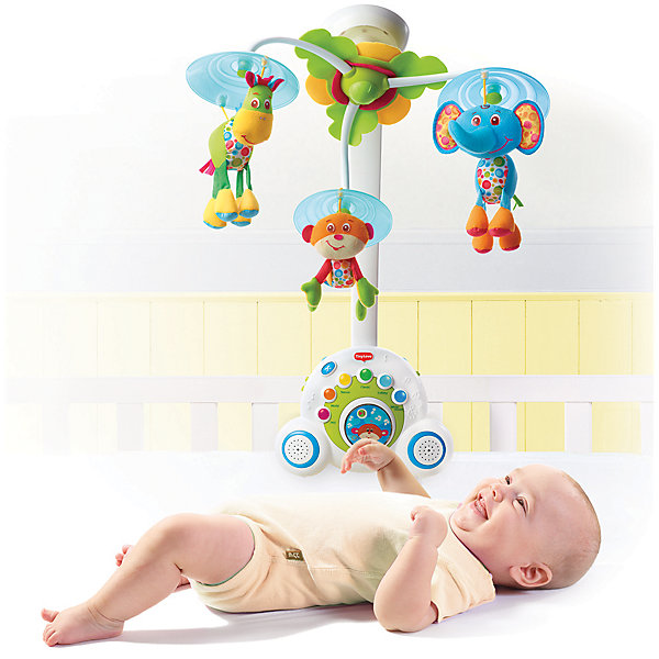 Многофункциональный мобиль Бум-бокс, Tiny LoveИгрушки для новорожденных<br>Многофункциональный мобиль Бум-бокс от Tiny Love (Тини Лав). <br><br>Мелодичный и яркий мобиль, который будет расти вместе с Вашим малышом!<br><br>Первый вариант – классический мобиль, который будет радовать и убаюкивать вашего малыша на протяжении первых 5 месяцев.<br>Второй вариант – классический ночник для малыша, который будет успокаивать и баюкать подросшего малыша.<br>Третий вариант – Ваш малыш уже подрос, он ходит, играет и любит подражать старшим, и тут Вы преподносите ему его первый в жизни собственный магнитофон со светящимися клавишами и более чем 15 вариантами мелодий, который можно взять с собой на прогулку и похвастаться перед друзьями.<br><br>Общая продолжительность звучания мелодий более 40 минут, в мобиль запрограммировано 6 типов мелодий: джаз, классика, природа, всемирные хиты, колыбельные и даже белый шум. Всего Бумбокс может воспроизводить более 15 мелодических тем, выбор которых можно производить как по разделам, так и в случайном порядке. Громкость музыки идеально подходит для малышей. <br><br>Запатентованное вращение животных специально настроено так, чтобы привлечь внимание малыша, который с удовольствием будет следить за животными. Объемное вращение создает симпатичные картины для малыша и развивает восприятие и чувства. Световые эффекты и музыкальное сопровождение хорошо дополняют этот инновативный продукт. <br><br>Дополнительная информация:<br><br>- уникальный механизм вращения<br>- 40 минут музыки без повторений<br>- 6 различных стилей и 15 мелодических тем<br>- 3 милых фигурки<br>- успокаивающий ночник<br>- съемный бум-бокс<br>- 2 высококачественных динамика<br>- успокаивающие световые сигналы<br>- кнопка для выбора мелодий (легкое управления для малыша)<br><br>Размер дуги: 48х30х7см.<br><br>В комплект входит: основание для крепления на кроватку - 1 шт., основной блок Бум-бокса с ручкой - 1 шт., сборная дуга мобиля - 1 шт., сборный плафон с 3 подвесными игрушками