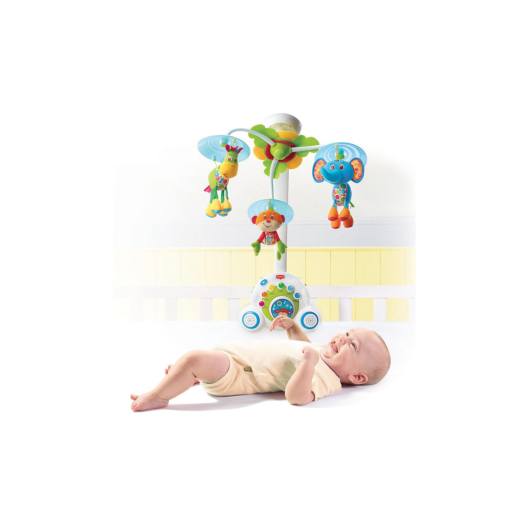 Многофункциональный мобиль Бум-бокс, Tiny LoveМногофункциональный мобиль Бум-бокс от Tiny Love (Тини Лав). <br><br>Мелодичный и яркий мобиль, который будет расти вместе с Вашим малышом!<br><br>Первый вариант – классический мобиль, который будет радовать и убаюкивать вашего малыша на протяжении первых 5 месяцев.<br>Второй вариант – классический ночник для малыша, который будет успокаивать и баюкать подросшего малыша.<br>Третий вариант – Ваш малыш уже подрос, он ходит, играет и любит подражать старшим, и тут Вы преподносите ему его первый в жизни собственный магнитофон со светящимися клавишами и более чем 15 вариантами мелодий, который можно взять с собой на прогулку и похвастаться перед друзьями.<br><br>Общая продолжительность звучания мелодий более 40 минут, в мобиль запрограммировано 6 типов мелодий: джаз, классика, природа, всемирные хиты, колыбельные и даже белый шум. Всего Бумбокс может воспроизводить более 15 мелодических тем, выбор которых можно производить как по разделам, так и в случайном порядке. Громкость музыки идеально подходит для малышей. <br><br>Запатентованное вращение животных специально настроено так, чтобы привлечь внимание малыша, который с удовольствием будет следить за животными. Объемное вращение создает симпатичные картины для малыша и развивает восприятие и чувства. Световые эффекты и музыкальное сопровождение хорошо дополняют этот инновативный продукт. <br><br>Дополнительная информация:<br><br>- уникальный механизм вращения<br>- 40 минут музыки без повторений<br>- 6 различных стилей и 15 мелодических тем<br>- 3 милых фигурки<br>- успокаивающий ночник<br>- съемный бум-бокс<br>- 2 высококачественных динамика<br>- успокаивающие световые сигналы<br>- кнопка для выбора мелодий (легкое управления для малыша)<br><br>Размер дуги: 48х30х7см.<br><br>В комплект входит: основание для крепления на кроватку - 1 шт., основной блок Бум-бокса с ручкой - 1 шт., сборная дуга мобиля - 1 шт., сборный плафон с 3 подвесными игрушками - 1 шт., инструкция - 1 шт.,