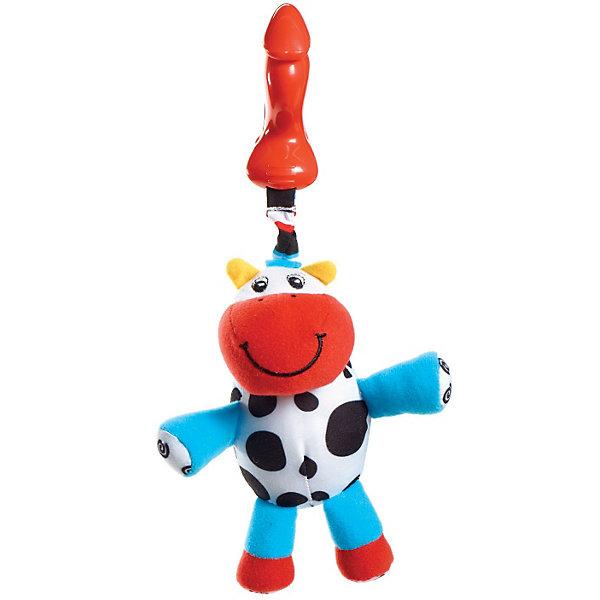 Подвес-погремушка теленок Кузя, Tiny LoveИгрушки для новорожденных<br>Подвес-погремушка теленок Кузя, Tiny Love (Тини Лав) - мягкая игрушка подвеска с разноцветными ушками и забавной улыбчивой рожицей.<br><br>Игрушка имеет удобный держатель в виде клипсы. Удобно повесить на кроватку, коляску или шезлонг. <br>Клипса и подвеска соединены вибрирующей веревочкой: если малыш притягивает игрушку к себе, веревочка растягивается и затем сокращается, заставляя игрушку вибрировать. Внутри спрятана погремушка-бубенчик.<br><br>Дополнительная информация: <br>- Размеры: 22х13х10 см<br>- Вес: 0,2 кг.<br><br>Подвес-погремушку теленок Кузя, Tiny Love (Тини Лав) можно купить в нашем интернет - магазине.<br>Ширина мм: 280; Глубина мм: 125; Высота мм: 100; Вес г: 81; Возраст от месяцев: 0; Возраст до месяцев: 24; Пол: Унисекс; Возраст: Детский; SKU: 2514417;