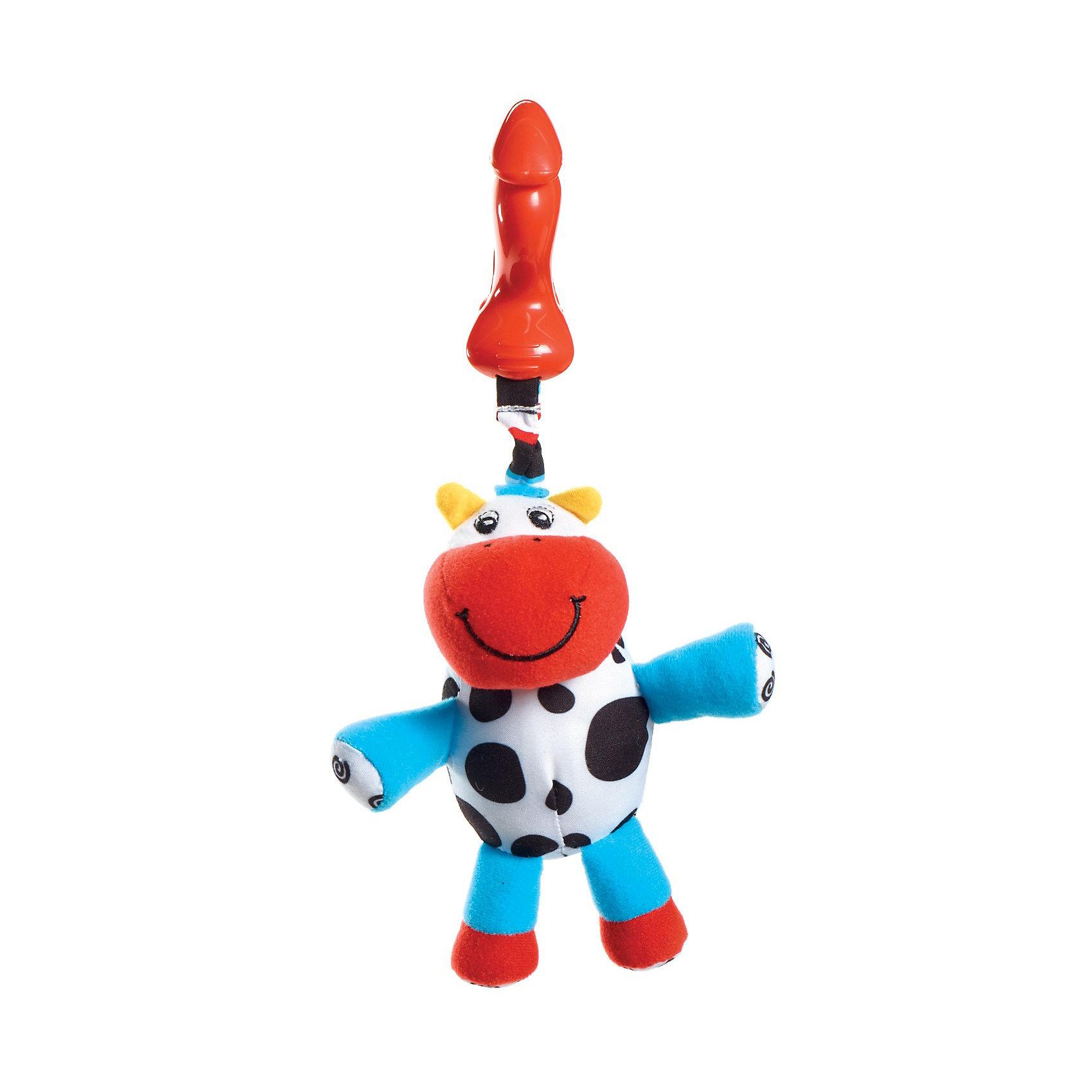 Подвес-погремушка теленок Кузя, Tiny LoveПодвески<br>Подвес-погремушка теленок Кузя, Tiny Love (Тини Лав) - мягкая игрушка подвеска с разноцветными ушками и забавной улыбчивой рожицей.<br><br>Игрушка имеет удобный держатель в виде клипсы. Удобно повесить на кроватку, коляску или шезлонг. <br>Клипса и подвеска соединены вибрирующей веревочкой: если малыш притягивает игрушку к себе, веревочка растягивается и затем сокращается, заставляя игрушку вибрировать. Внутри спрятана погремушка-бубенчик.<br><br>Дополнительная информация: <br>- Размеры: 22х13х10 см<br>- Вес: 0,2 кг.<br><br>Подвес-погремушку теленок Кузя, Tiny Love (Тини Лав) можно купить в нашем интернет - магазине.<br><br>Ширина мм: 280<br>Глубина мм: 125<br>Высота мм: 100<br>Вес г: 81<br>Возраст от месяцев: 0<br>Возраст до месяцев: 24<br>Пол: Унисекс<br>Возраст: Детский<br>SKU: 2514417