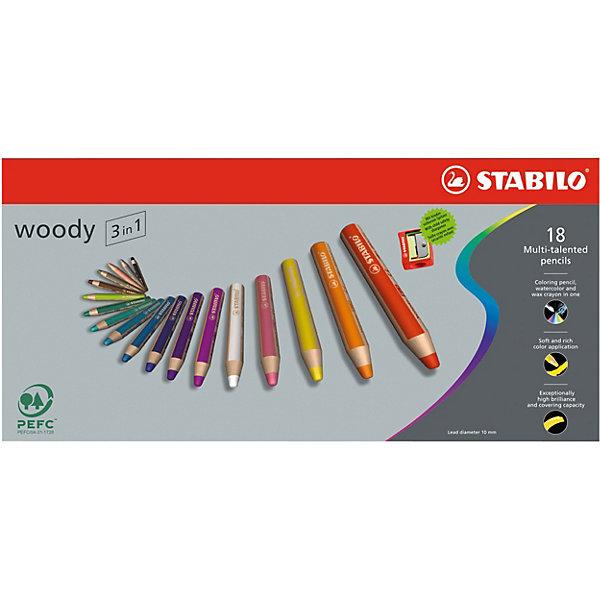 Набор цветных карандашей Stabilo Woody 18 цв+точилка, картонЦветные<br>Характеристики:<br><br>• возраст: от 3 лет<br>• в наборе: 18 карандашей, точилка<br>• количество цветов: 18<br>• диаметр грифеля: 1 см.<br>• длина карандаша: 11 см.<br>• материал корпуса: древесина<br>• упаковка: картонная коробка<br>• размер упаковки: 17,5х36,5х2,7 см.<br>• вес: 790 гр.<br><br>Супертолстые цветные карандаши Stabilo «Woody» 3 в 1 - это уникальные карандаши, сочетающие в себе возможности цветных карандашей, акварельных красок и восковых мелков.<br><br>Высокая степень пигментации гарантирует яркость цвета, и исключительную покрывающую способность даже на темном фоне. Отличные акварельные качества позволяют добиться необычных изобразительных эффектов. Прочный грифель идеален для раскрашивания.<br><br>Карандаши Stabilo «Woody» пишут практически на всех гладких поверхностях, включая стекло.<br><br>Набор цветных карандашей Stabilo Woody 18 цв+точилка, картон можно купить в нашем интернет-магазине.<br>Ширина мм: 366; Глубина мм: 175; Высота мм: 35; Вес г: 363; Возраст от месяцев: 36; Возраст до месяцев: 84; Пол: Унисекс; Возраст: Детский; SKU: 2514912;
