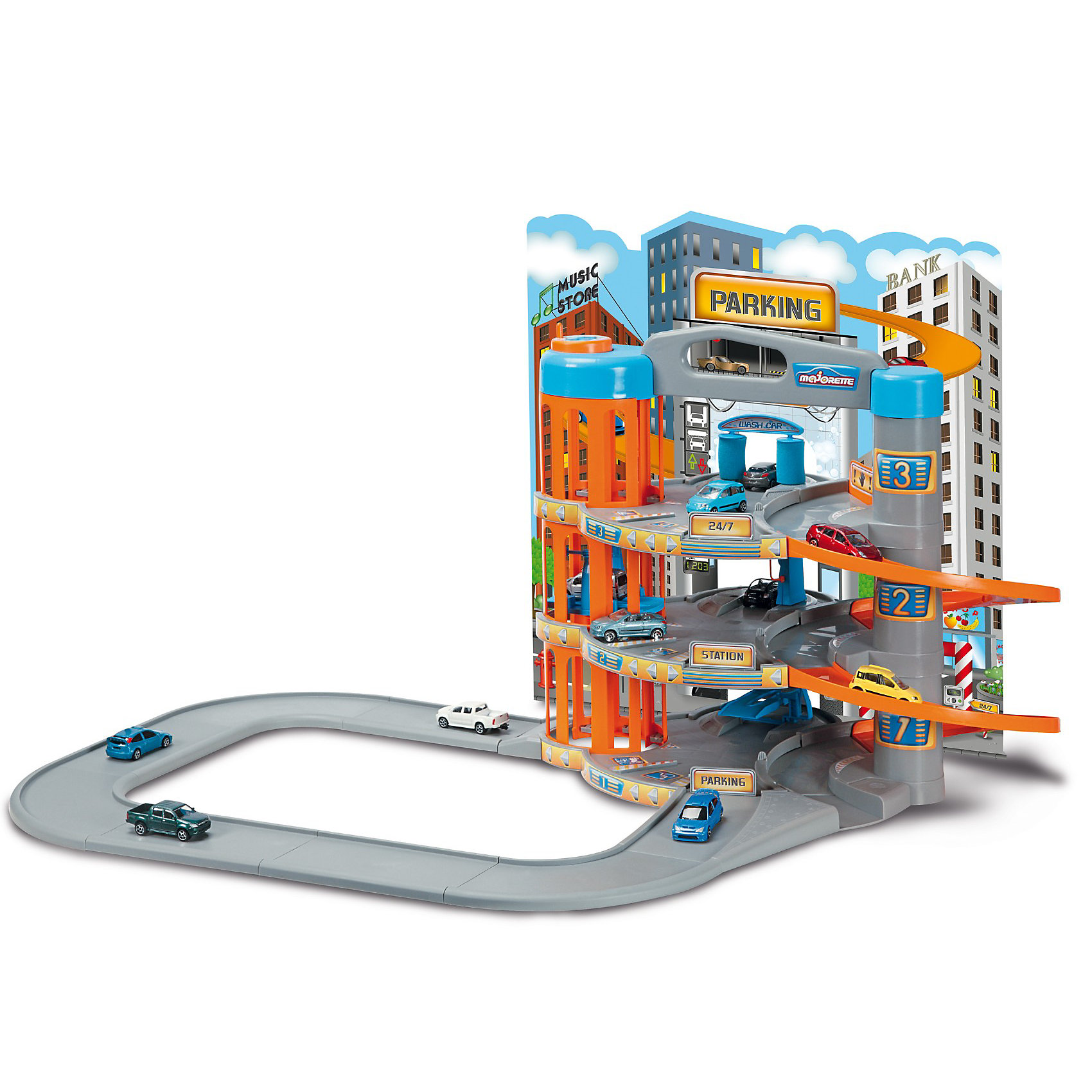 Парковка с 5 машинками, MajoretteХарактеристики:<br><br>• количество машинок в наборе: 5 шт.;<br>• размер машинки: 5-7 см;<br>• размер парковки в собранном виде + полотно автодороги: 92х62,5х45 см;<br>• материал: металл, пластик;<br>• размер упаковки: 70х13х5 см;<br>• вес: 3,22 кг.<br><br>Полноценная габаритная парковка с автозаправной станцией, мойкой машин, службой технической поддержки предназначена для долговременной игры с машинками. Парковка в три этажа с примыкающей к ней дорогой в собранном виде достигает внушительных размеров. Машинки с открывающимся капотом могут пройти диагностику и получить консультацию от квалифицированного работника СТО. Простор фантазии, развитие сюжетных линий, целый арсенал вспомогательных функций – игровой набор Majorette надолго завладеет вниманием ребенка.<br><br>Парковку с 5 машинками, Majorette можно купить в нашем магазине.<br><br>Ширина мм: 705<br>Глубина мм: 493<br>Высота мм: 135<br>Вес г: 2800<br>Возраст от месяцев: 36<br>Возраст до месяцев: 84<br>Пол: Мужской<br>Возраст: Детский<br>SKU: 2517844