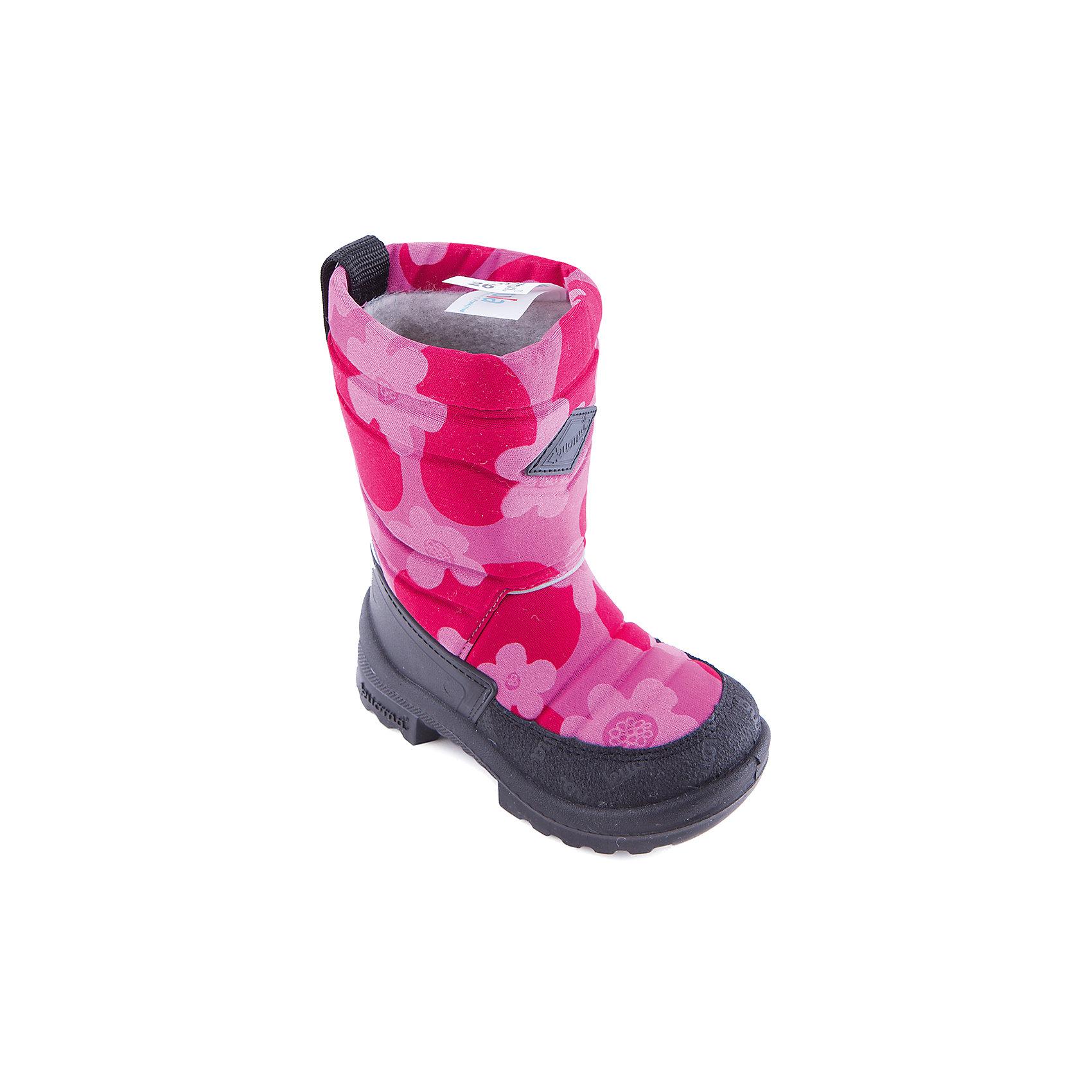Зимние сапоги для девочки KUOMAЗимние сапоги PUTKIVARSI от известного финского бренда kuoma® (Куома) исключительно теплые и очень удобные. Все изделия имеют крепкую амортизирующую подошву, которая «работает» даже в холодных зимних условиях. Кроме того, обувь снабжена сменными стельками и светоотражающими полосками в целях повышения безопасности. Матерчатый верх обуви проходят специальную противогрязевую и влагоотталкивающую обработку. Обувь kuoma® (Куома) подходит даже для самых холодных зим.     <br><br>Температурный режим: от - 5°C до - 30°C.<br><br>Состав:<br>Верх - триплированный, износостойкий, влагостойкий материал, стелька - иск/войлок, подошва - износостойкая, гибкая из полиуритана.Состав: <br>Материал верха: Полиамид с пропиткой.<br><br>Ширина мм: 257<br>Глубина мм: 180<br>Высота мм: 130<br>Вес г: 420<br>Цвет: розовый<br>Возраст от месяцев: 18<br>Возраст до месяцев: 21<br>Пол: Женский<br>Возраст: Детский<br>Размер: 38,32,35,31,34,33,39,23,30,24,26,28,29,25,27,21,37,22,36<br>SKU: 2518163