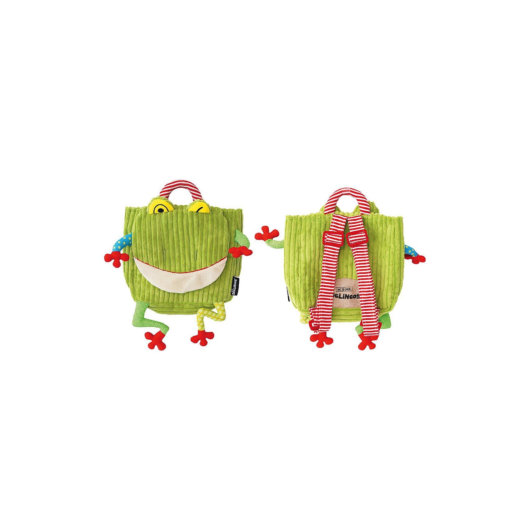 DEGLINGOS  Рюкзак Лягушонок CroakosРюкзак детский с элементами ручной вышивки. В игрушке использованы материалы велюр, вельвет, ситец, драп, мешковина. Замок на 2 липучках, лямки регулируются. <br><br>Дополнительная информация:<br><br>Размер: 25 х 25 см.<br><br>Ширина мм: 250<br>Глубина мм: 60<br>Высота мм: 300<br>Вес г: 160<br>Возраст от месяцев: 24<br>Возраст до месяцев: 60<br>Пол: Унисекс<br>Возраст: Детский<br>SKU: 2523740