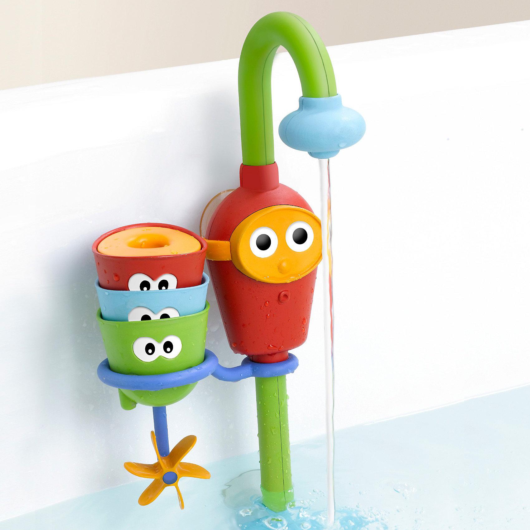 Водная игрушка Волшебный кран, Yookidoo•«Волшебный кран» легко крепится к стенкам ванной с помощью 2 прочных присосок и, забирая воду из ванной, создает постоянный поток воды<br>•В наборе: красочный кран, 3 забавные формочки с глазками (ситечко, формочка с вращающимися лопастями и формочка-сюрприз с поплавком)<br>•Игрушка способствует развитию воображения, восприятию формы и цвета, тренирует внимание и память<br>•Легко управлять. Специально разработано для маленьких детских ручек. Работает от 3батареек АА(не входят в комплект)<br><br>Ширина мм: 393<br>Глубина мм: 187<br>Высота мм: 97<br>Вес г: 547<br>Возраст от месяцев: 9<br>Возраст до месяцев: 36<br>Пол: Унисекс<br>Возраст: Детский<br>SKU: 2528510