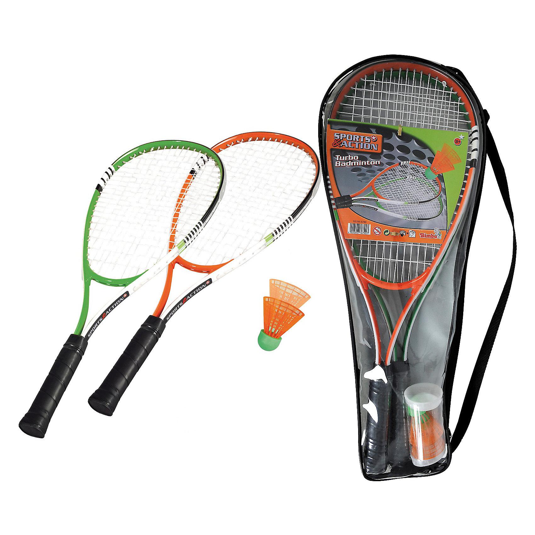 Simba Турбо-бадминтон, 2 ракетки, 2 мячикаБадминтон и теннис<br>Турбо-бадминтон от Simba подарит много спортивных, азартных часов на свежем воздухе. Легкие удобные ракетки и яркие оранжевые воланчики можно будет легко разыскать в траве. В наборе: две ракетки для бадминтона, 2 воланчика для игры в бадминтон.. Набор упакован в удобную сумку с ручкой<br><br>Дополнительная информация:        <br><br>-Размер:  61х24х5 см.<br>-Размер упаковки: 0,7х0,2х0,6 м.<br>-Вес:  4, 2 кг.<br><br>Игра развивает ловкость и координацию движений. <br>Приобрести набор для бадминтона можно в нашем магазине<br><br>Ширина мм: 597<br>Глубина мм: 238<br>Высота мм: 59<br>Вес г: 510<br>Цвет: красный<br>Возраст от месяцев: 60<br>Возраст до месяцев: 192<br>Пол: Унисекс<br>Возраст: Детский<br>SKU: 2530663