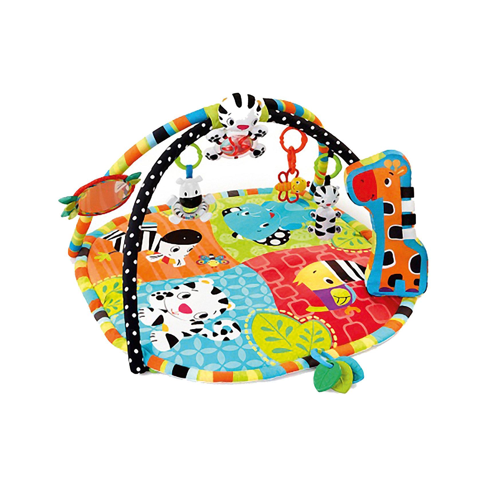Развивающий коврик Африка Bright StartsРазвивающий коврик Африка от Bright Starts (Брайт Стартс) cпециально разработан для развития всех чувств ребёнка первого года жизни! Высококонтрастные элементы для развития зрения малыша. Для малышей возрастом от 0 до 1 года.<br><br>Мягкая подушка-опора жираф способствует укреплению мышц животика. Музыкальная световая подвеска-тигренок (звуки и мелодии играют более 20 минут). Большое безопасное зеркальце. 3 прорезывателя для зубок. Большое безопасное зеркальце. Погремушки: тигренок, пчелка и зебра с прозрачным животиком и цветными шариками внутри. Петли для крепления других игрушек.<br><br>Дополнительная информация:<br><br>- Возможность машинной стирки.<br>- Размеры товара: 98 * 111 * 46 см.<br>- Размеры коробки: 70 * 10 * 55 см.<br><br>Развивающий коврик Африка Bright Starts (Брайт Стартс) можно купить в нашем интернет-магазине.<br><br>Ширина мм: 700<br>Глубина мм: 550<br>Высота мм: 100<br>Вес г: 2063<br>Возраст от месяцев: 3<br>Возраст до месяцев: 24<br>Пол: Унисекс<br>Возраст: Детский<br>SKU: 2531398