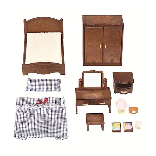 Набор Спальня Sylvanian FamiliesSylvanian Families<br>Классический набор Спальня от Silvanian Families (Сильваниас Фэмилиес) поможет обустроить спальную комнату в домике лесных зверушек. Для этого в комплекте есть все необходимое.<br><br>В набор Спальня, помимо полутораспальной кровати и тумбочки, входит еще множество других интересных предметов для обустройства уютной спальни.<br>В двустворчатый платяной шкаф можно сложить одежду, а туалетный столик с зеркалом и двумя выдвижными ящиками подойдет для хранения мелочей.<br><br>Высокое качество и внимание к деталям каждого элемента набора, является отличительной чертой всех игрушек из доброго мира Sylvanian Families.<br><br>В комплект входит:<br>кровать с постельными принадлежностями<br>шкаф<br>туалетный столик<br>тумбочка<br>аксессуары<br><br>Материал: текстиль, ПВХ с полимерным наполнением, пластмасса.<br><br>Дополнительная информация:<br>Размер упаковки: 30x15x8 см<br>Ширина мм: 301; Глубина мм: 172; Высота мм: 66; Вес г: 348; Возраст от месяцев: 36; Возраст до месяцев: 72; Пол: Женский; Возраст: Детский; SKU: 2531410;