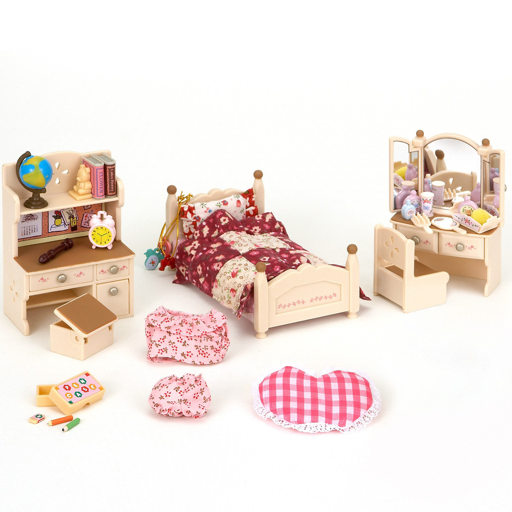 Набор Детская комната Sylvanian FamiliesНабор Детская комната (бежевая) - отличная спальня для девочки из большого семейства Sylvanian Families (Сильваниан Фэмилиес), где есть подростковая кровать, заправленная постельным бельем в стиле пэчворк. <br><br>В набор входит розовая пижама, трельяж, куда можно поставить разнообразные флакончики, положить расческу и маленькое  зеркальце, а в ящики трельяжа можно убрать украшения. <br><br>Кроме того, есть письменный стол с полкой, за которым удобно делать уроки, а на полке отлично поместятся книги и глобус. В спальный гарнитур также входит кресло и пуфик с открывающейся крышкой, клетчатая оригинальная подушка в форме сердца.<br><br>В наборе: <br><br>- Кровать (9х5x5 см)<br>- Туалетный столик <br>- Кресло <br>- Пуфик<br>- Стол (6,5x4x9,5 см) <br>- Аксессуары<br><br>Дополнительная информация:   <br><br>- Материал: пластик. <br>- Размер упаковки: 30x7x15 см. <br>- Вес упаковки: 200 г.<br><br>Ширина мм: 304<br>Глубина мм: 172<br>Высота мм: 66<br>Вес г: 336<br>Возраст от месяцев: 36<br>Возраст до месяцев: 72<br>Пол: Женский<br>Возраст: Детский<br>SKU: 2531412