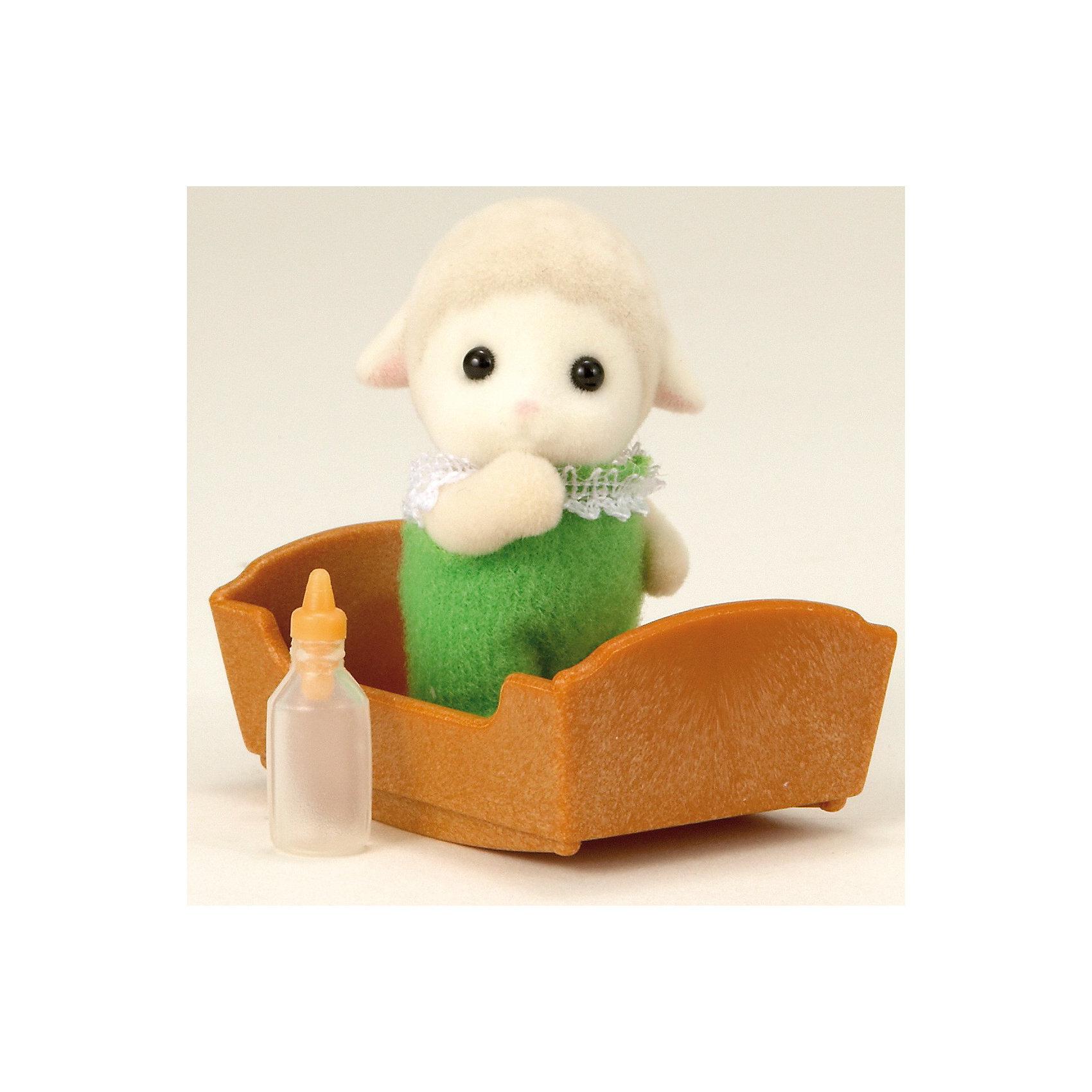 Набор Малыш Овечка Sylvanian FamiliesМалыш Овечка - сладкий малыш, о котором так и хочется позаботиться! Он одет в зеленый комбинезончик с кружевами и любит спать в своей колыбельке, особенно зимой. Малыша нужно покормить из бутылочки и уложить спать в уютную кроватку.  <br>Голова малыша с черными глазками-бусинками поворачивается, а лапки двигаются.<br><br>В этом комплекте Sylvanian Families (Сильваниан Фэлимиес):<br>- Малыш Овечка высотой 3,5 см<br>- колыбелька<br>- бутылочка <br>Дополнительная информация:<br>Размер коробки: 8 х 4 х 12 см.<br><br> Материал: высококачественная пластмасса, ПВХ с полимерным напылением, текстиль. <br><br>Ваш ребенок будет в восторге от этого малыша!<br><br>Ширина мм: 120<br>Глубина мм: 78<br>Высота мм: 35<br>Вес г: 33<br>Возраст от месяцев: 36<br>Возраст до месяцев: 72<br>Пол: Женский<br>Возраст: Детский<br>SKU: 2531414