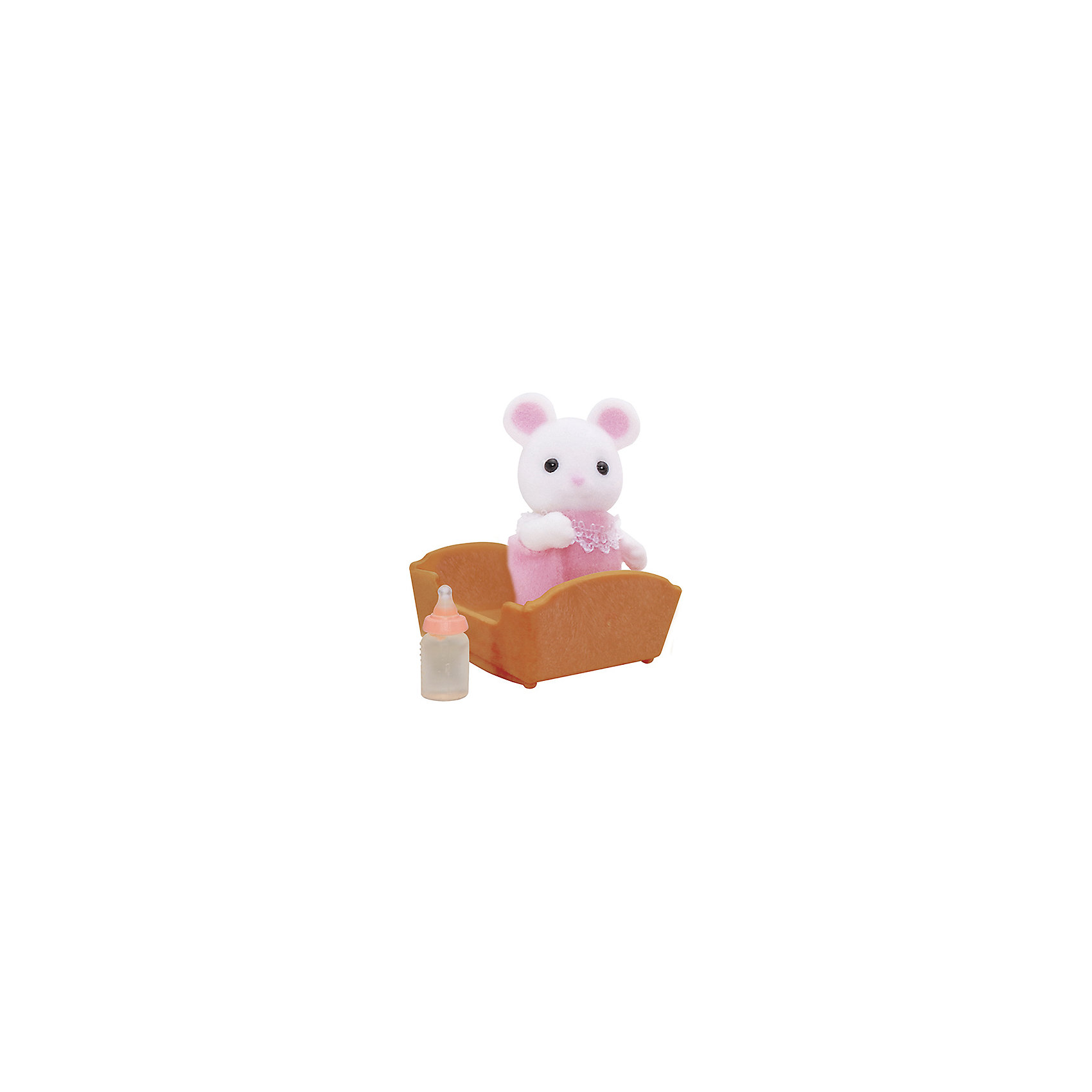 Набор Малыш Белый Мышонок Sylvanian FamiliesSylvanian Families<br>Малыш Белый Мышонок Sylvanian Families (Сильваниан Фамилиес) - сладкий малыш, о котором так и хочется позаботиться! Он одет в розовый комбинезончик с кружевами и любит спать в своей колыбельке, особенно зимой. Малыша нужно покормить из бутылочки и уложить спать в уютную кроватку.  <br>Голова малыша с черными глазками-бусинками поворачивается, а лапки двигаются.<br><br>В комплекте:<br>- Малыш Белый Мышонок высотой 3,5 см<br>- колыбелька<br>- бутылочка <br>Дополнительная информация:<br>Размер коробки: 8 х 4 х 12 см.<br><br> Материал: высококачественная пластмасса, ПВХ с полимерным напылением, текстиль. <br><br>Ваш ребенок будет в восторге от этого малыша!<br><br>Ширина мм: 122<br>Глубина мм: 76<br>Высота мм: 35<br>Вес г: 37<br>Возраст от месяцев: 36<br>Возраст до месяцев: 72<br>Пол: Женский<br>Возраст: Детский<br>SKU: 2531415