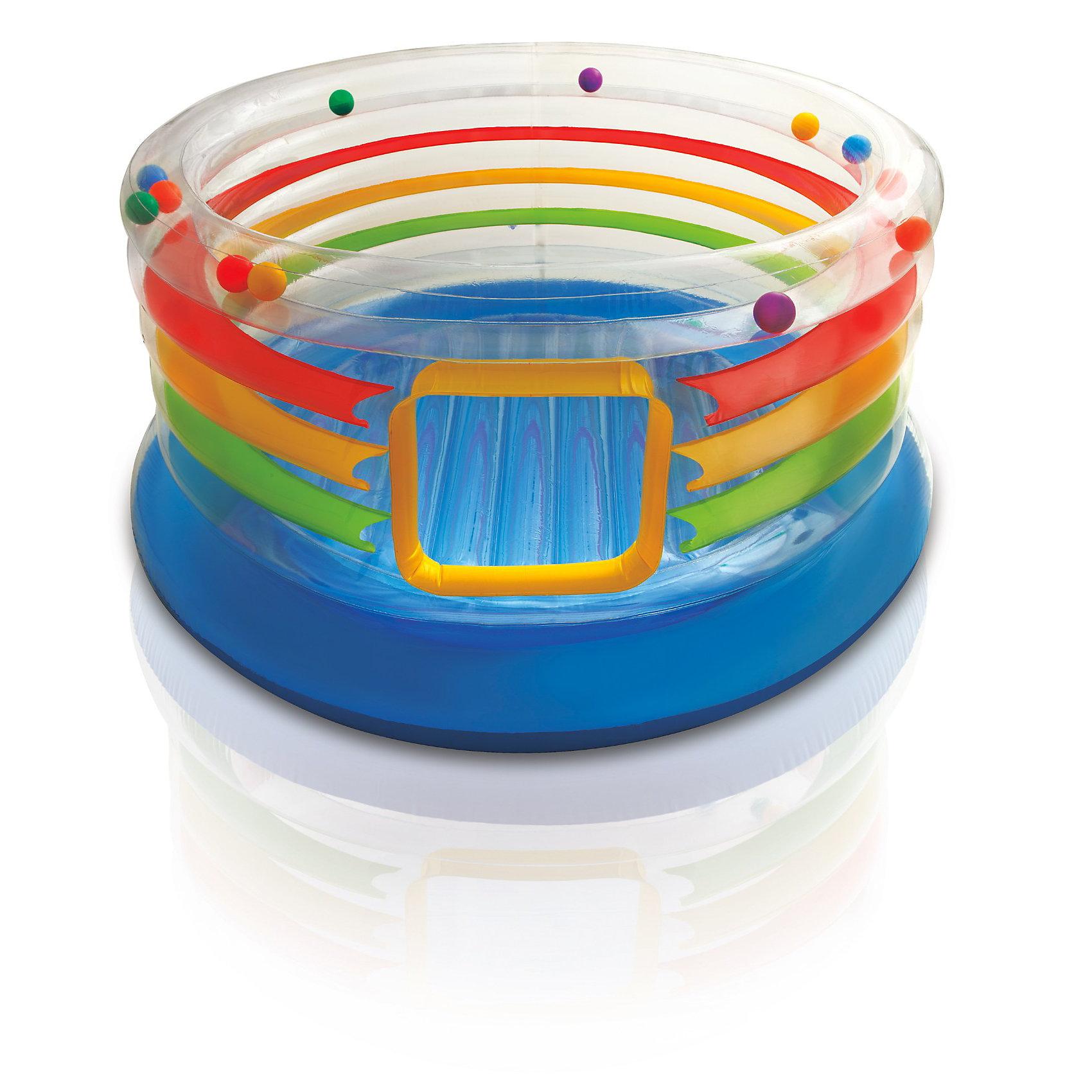 Детский надувной батут Радуга с шариками внутри, IntexДетский надувной батут Радуга с шариками внутри, Intex (Интекс) не даст заскучать ни одному ребенку. <br>Высокие надувные стенки детского батута защитят Ваших детей от падений наружу. Эти стенки сделаны из прозрачного ПВХ для того, чтобы родители могли контролировать игру маленьких детей.<br><br>Легкие разноцветные мячики, которые находятся внутри верхней части батута  при прыжках создают задорный шум.<br><br>Детский надувной батут Радуга с шариками внутри - это игрушка, с которой Ваши дети не захотят расстаться.<br><br>Дополнительная информация:<br><br>- Размер: 182 x 86 см<br>- Материал: винил<br>- Максимально допустимый вес: 54 кг.<br>- Вес: 7,3 кг.<br><br>Детский надувной батут Радуга с шариками внутри, Intex (Интекс) можно купить в нашем интернет-магазине.<br><br>Ширина мм: 465<br>Глубина мм: 410<br>Высота мм: 168<br>Вес г: 7020<br>Возраст от месяцев: 36<br>Возраст до месяцев: 72<br>Пол: Унисекс<br>Возраст: Детский<br>SKU: 2535126