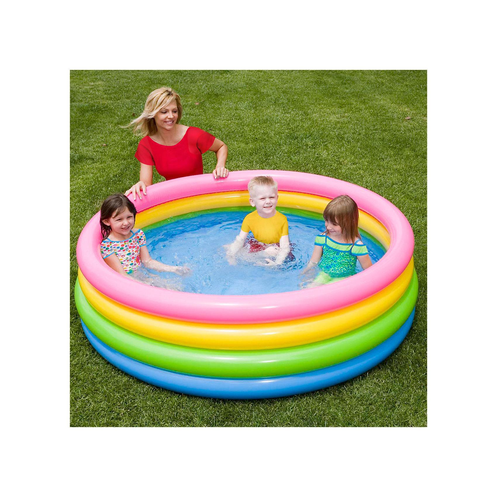 Intex Детский надувной бассейн Радуга, Intex надувной бассейн intex бассейн аквариум 152 56см