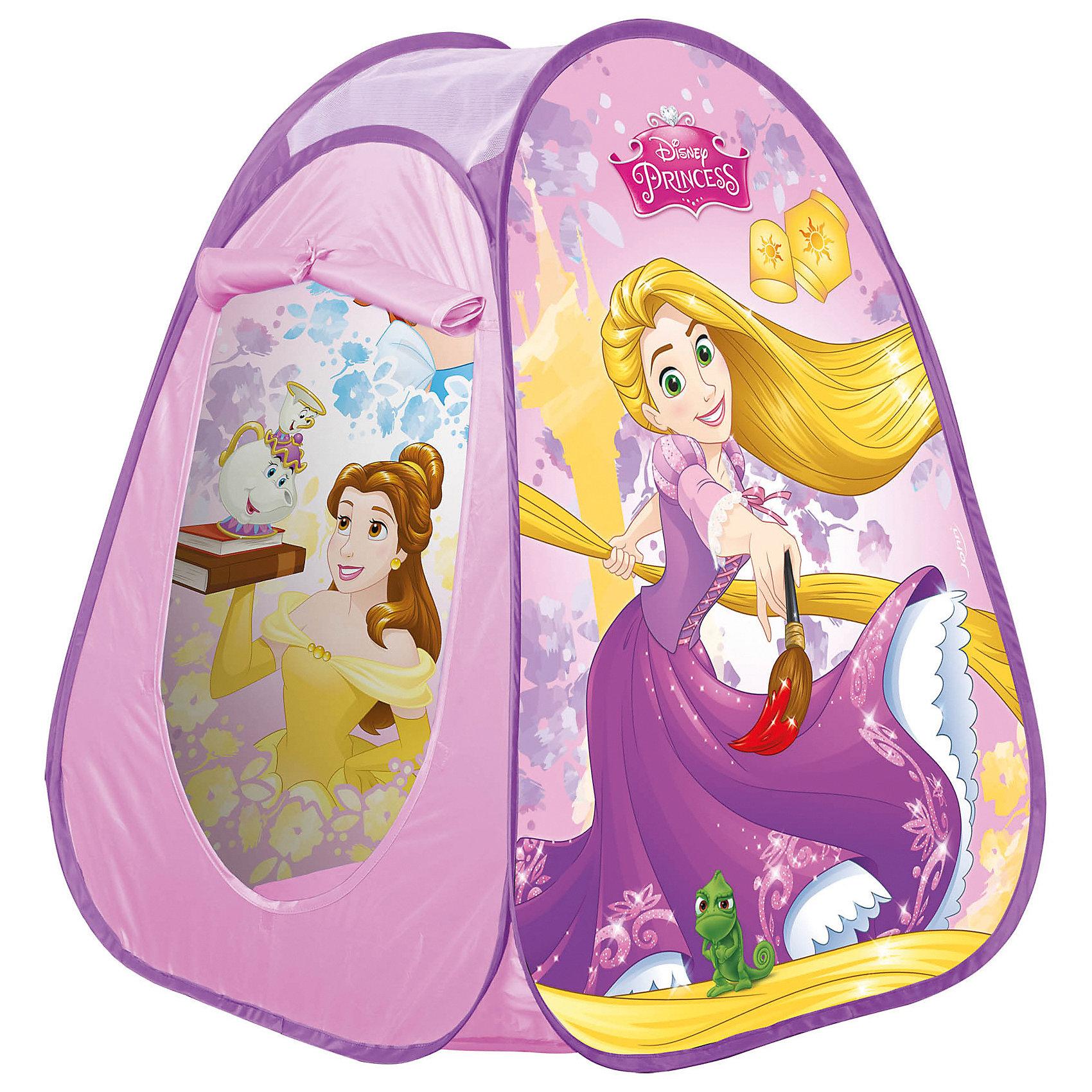 Палатка Принцессы, JohnПопулярные игрушки<br>Палатка Принцессы, John (Джон). <br><br>Характеристика:<br><br>• Материал:  100% полиэстер, пластик, металл. <br>• Размер в разложенном виде: 75 х 75 х 90 см.<br>• Размер упаковки: 34 х 34 х 4 см.<br>• Вес: 0,8 кг. <br>• Оформлена изображениями Disney princes (Принцесс Диснея).<br>• Влагоотталкивающая пропитка. <br>• Дверь можно закрепить сверху, обеспечив постоянное проветривание. <br>• Верх выполнен из сетчатого материала.<br><br>Яркая палатка-домик, оформленная изображениями любимых Disney princes, приведет в восторг любую девочку! Палатка изготовлена из экологичных износостойких материалов безопасных для детей, легко и быстро собирается, подходит для игр в помещении и на свежем воздухе в теплую сухую погоду. Верх палатки выполнен из сетчатого материала, дверь можно закрепить сверху - это обеспечит постоянный приток свежего воздуха и естественное проветривание.  Модель достаточно вместительная: подходит для игр нескольких детей.<br><br>Палатку Принцессы, John (Джон) можно купить в нашем интернет-магазине.<br><br>Ширина мм: 345<br>Глубина мм: 342<br>Высота мм: 55<br>Вес г: 678<br>Возраст от месяцев: 24<br>Возраст до месяцев: 72<br>Пол: Женский<br>Возраст: Детский<br>SKU: 2536193