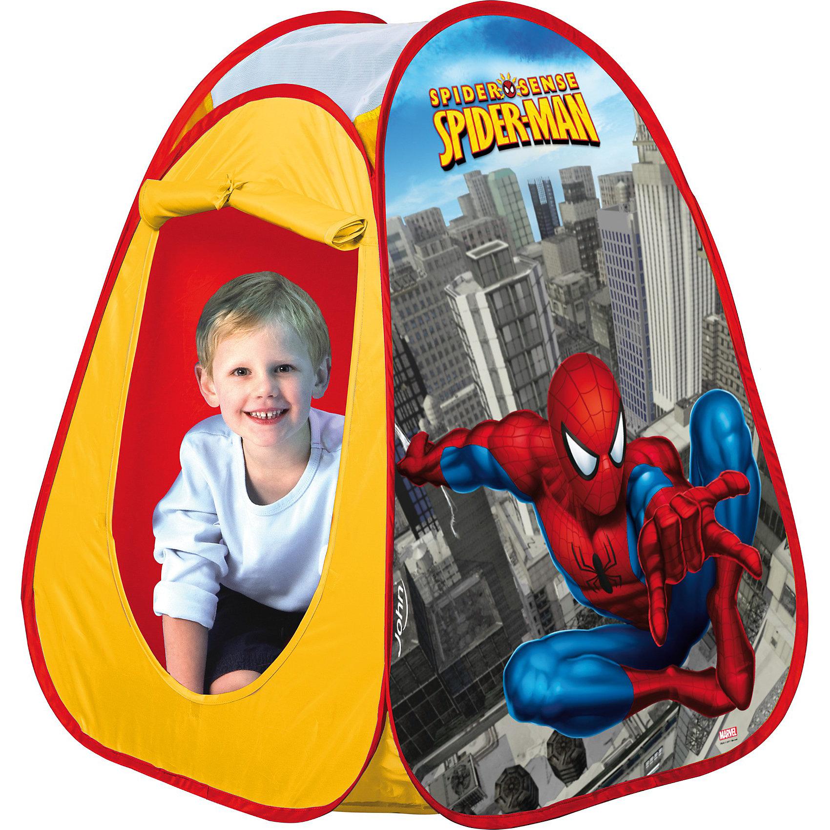 Палатка Человек-Паук, 75*75*90 см, JOHNПрекрасная яркая палатка для игр в саду. Палатка защитит Вашего ребенка от солнца и небольших атмосферных осадков. Удобно и быстро собирается и разбирается, имеет водоотталкивающую наружную ткань и пол из прочного синтетического материала.<br><br>Дополнительная информация: <br><br>- Возраст: от 3 лет.<br>- Орнамент: человек-паук.<br>- Материал: текстиль.<br>- Размер конуса: 75х75х90 см.<br><br>Купить палатку Человек-Паук от JOHN,  можно в нашем магазине.<br><br>Ширина мм: 388<br>Глубина мм: 380<br>Высота мм: 58<br>Вес г: 768<br>Возраст от месяцев: 24<br>Возраст до месяцев: 72<br>Пол: Мужской<br>Возраст: Детский<br>SKU: 2536194
