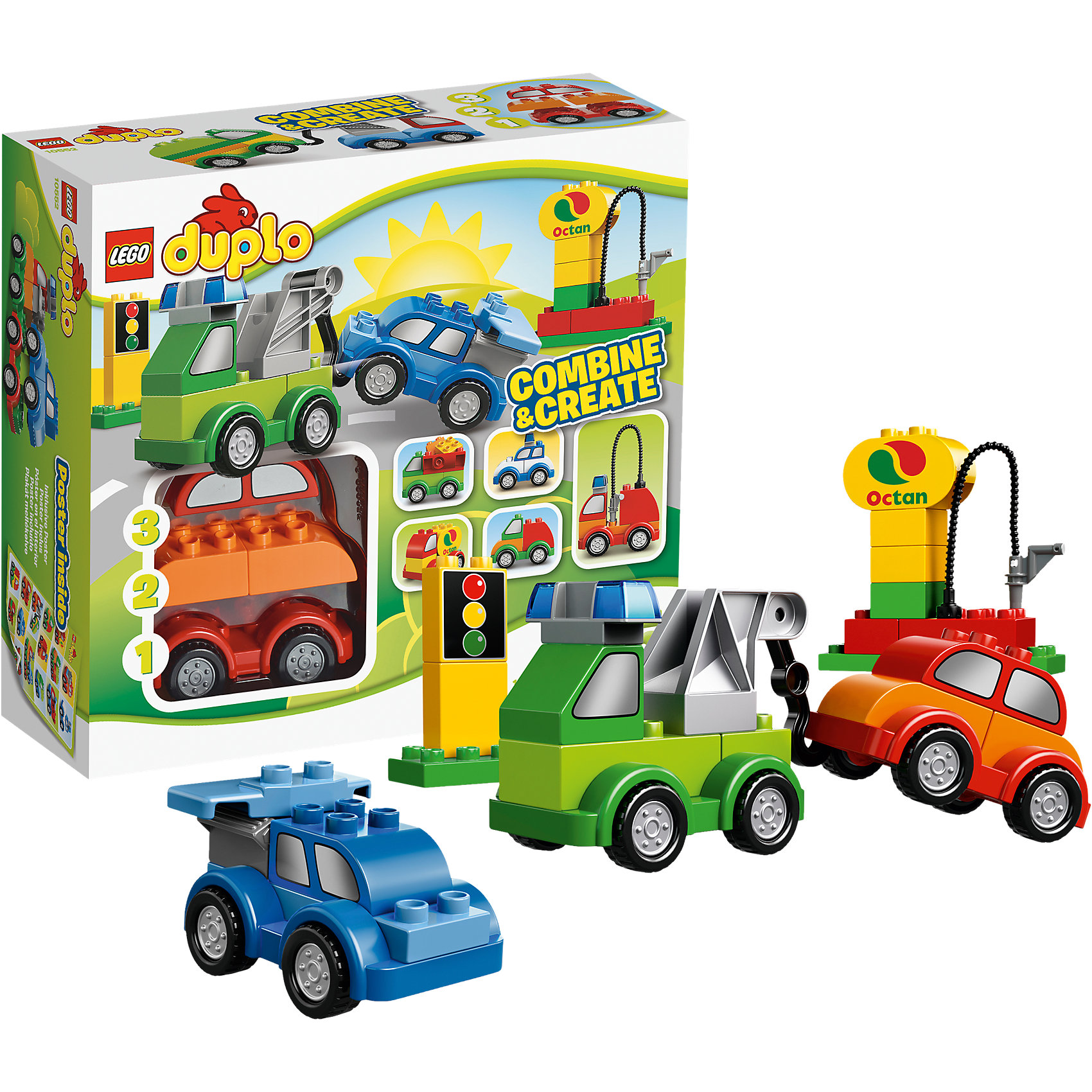 LEGO DUPLO 10552: Машинки-трансформерыС помощью наборы LEGO DUPLO (LEGO-Nr.: 10552) Ваш малыш сможет построить разнообразные машинки и изучить с их помощью город DUPLO.<br><br>От буксира до гоночной машины - благодаря этому набору Ваш малыш может экспериментировать и с помощью пары движений построить множество машинок. Всё это дополняется детальками из города DUPLO, которые изображают светофор и даже заправку.<br><br>Каждая из моделей состоит из трёх последовательных уровней. Нижний уровень представлен подвеской с четырьмя колёсами. Центральная часть разделена на капот и багажник. Верхушка отвечает за предназначение автомобиля и может быть самой разнообразной. На крышу полицейской машины можно установить сигнальные сирены, а на багажник гоночного автомобиля – задний спойлер.  Так же в наборе есть большой кран с лебёдкой, который можно установить на грузовик и превратить его в эвакуатор. Чтобы сделать игру реалистичнее, малыш сможет поставить на дороге светофор и заправочную станцию.<br><br>Дополнительная информация:<br><br>- 3 основы для машинок<br>- детали LEGO DUPLO с окнами, светофором, краном <br>- LEGO-Nr.: 10552<br>- Количество деталей: 40<br><br>Конструктор LEGO DUPLO 10552: Машинки-трансформеры можно купить в нашем магазине.<br><br>Ширина мм: 285<br>Глубина мм: 258<br>Высота мм: 97<br>Вес г: 753<br>Возраст от месяцев: 18<br>Возраст до месяцев: 36<br>Пол: Мужской<br>Возраст: Детский<br>SKU: 2540606