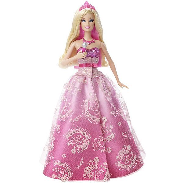 Кукла Принцесса и Попзвезда Tори, BarbieКуклы<br>Одна кукла - два образа! Первый - это Барби принцесса, второй - поп-звезда! Платье у куклы трансформируется и придаёт ей новый образ, корона на голове сдвигается и превращается в стильную повязку на волосы!<br><br>Если нажать на ожерелье, то кукла начнёт петь.<br><br>Волосы куклы можно расчёсывать и мыть под водой, тело целиком выполнено из пластика, ручки, ножки и голова подвижны.<br><br><br>Дополнительная информация:<br><br><br>- Размер куклы: 28 см.<br>- Материалы: текстиль, пластмасса.<br>- Кукла исполняет две песни.<br>- Размеры упаковки: 22,5 х 7,5 х  32,5 см.<br>- Вес: 330 гр.<br>Ширина мм: 220; Глубина мм: 75; Высота мм: 325; Вес г: 330; Возраст от месяцев: 36; Возраст до месяцев: 168; Пол: Женский; Возраст: Детский; SKU: 2545409;