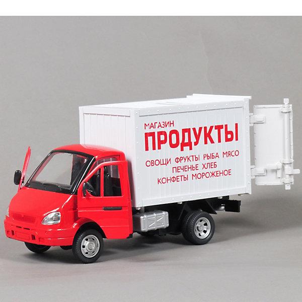 ТЕХНОПАРК Машина инерционная Газель Фургон Продукты, свет+звукМашинки<br>ТЕХНОПАРК Машина инерционная Газель Фургон Продукты, свет+звук<br><br>Характеристики:<br><br>- Масштаб: 1:43<br>- Размер упаковки: 24х14х11см.<br>- Материал: металл, пластик<br>- Инерционный механизм.<br>- Батарейка AG13 в комплекте<br><br>ТЕХНОПАРК Машина инерционная Газель Фургон Продукты, свет+звук - миниатюрная копия настоящего автомобиля в масштабе 1:43. Модель выполнена из пластика и металла. Игрушка представляет собой модель автомобиля спецтехники, выполненная на базе автомобиля «Газель». Она сделана из качественного и безопасного пластика. Прорезиненные колеса машинки имеют свободный ход. Модель очень реалистична – открываются двери, капот, горят фары, и слышится звук работающего двигателя. Игрушка оснащена инерционным ходом. Машинку необходимо отвести назад, затем отпустить - и она быстро поедет вперед. Ваш ребенок сможет придумывать и обыгрывать различные игровые сюжеты. Порадуйте своего мальчика, подарив ему такую машинку!<br><br>ТЕХНОПАРК Машина инерционная Газель Фургон Продукты, свет+звук, можно купить в нашем интернет - магазине.<br><br>Ширина мм: 110<br>Глубина мм: 240<br>Высота мм: 140<br>Вес г: 479<br>Возраст от месяцев: 60<br>Возраст до месяцев: 2147483647<br>Пол: Мужской<br>Возраст: Детский<br>SKU: 2545445
