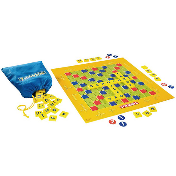 Настольная игра Скрабл Джуниор, Mattel GamesИгры со словами<br>Настольная игра Скрабл Джуниор (Scrabble Junior) – новая версия классической игры Скрабл (Scrabble), созданная специально для детей.<br><br>Две возможности игры:<br>1) упрощенный вариант игры для детей от 5 до 8 лет (более красочная сторона поля)<br>2) более сложная версия (похожая на классический Скрабл) для детей от 7 до 12 лет.<br><br>1) Игра на стороне «Слова и картинки» состоит в выкладывании косточек с буквами на уже существующие слова (напоминает игру лотто, но с буквами).<br>Для подсказки рядом с каждым словом нарисованы соответствующие картинки. Нет никаких ограничений на порядок выкладывания косточек, но жетон с призовым очком получает тот игрок, который последним ставит на слово косточку с буквой.<br>Есть и более сложный вариант игры, когда выкладывать буквы в слове можно только по порядку: от первой до последней.<br><br>Скрабл Джуниор (Scrabble Junior) поможет детям выучить алфавит, новые слова и их правильное написание.<br><br>2) Игра на стороне «Цвета и жетоны» очень похожа на «взрослый» Скрабл: слова необходимо выкладывать вертикально и горизонтально по принципу кроссворда. Отличие детского варианта от классического состоит в облегченном подсчёте призовых очков: за каждую закрытую красную или голубую бонусную клетку игрок берёт жетон соответствующего цвета. Для подсказки по краям игрового поля нарисованы примеры составленных слов.<br><br>Игра Скрабл Джуниор (Scrabble Junior) не только увлекательна, но и  полезна для расширения словарного запаса ребёнка и развитии сообразительности.<br><br>Скрабл Джуниор (Scrabble Junior) – отличный помощник в обучении!<br><br><br>Дополнительная информация:<br><br>- В наборе: двусторонняя игровая доска, 84 косточки с буквами (включая 2 пустые косточки), 29 голубых жетонов, 16 красных жетонов, мешочек для косточек, буклет с правилами<br>- Количество игроков: 2-4 человека<br>- Размер упаковки: 36 х 23 х 4 см<br>Ширина мм: 230; Глубина мм: 370; Высота мм: 40; 