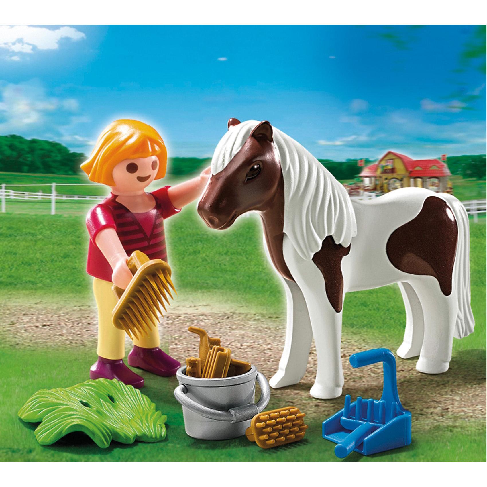 PLAYMOBIL  5291 Экстра-набор: Девочка и пониДевочка и пони – набор, с помощью которого можно реализовать немало сюжетов.<br>Игровые наборы Playmobil понравятся крохе, ведь детям так нравится играть с питомцами. <br>Красивая лошадка с длинной волнистой гривой должна быть чистой всегда, и за ней нужно ухаживать, применяя разные аксессуары для расчесывания и чистки животного. <br>Девочка возьмет щетку и расчешет гриву, помоет лошадку с водой в ведерке. <br>Чтобы животное чувствовало себя хорошо, его нужно не только кормить, оно должно быть чистым и ухоженным.<br>В конструкторы входят девочка, лошадка, ведерко, щетка, лопата и грабли и 6 предметов ухода за животным.<br>Ребенок приведет во двор лошадку, возьмет ведерко с водой и начнет ее мыть. <br>Мягкая щеточка прочистит шерстку, а расческа с длинными зубьями приведет в порядок гриву и хвост. <br>Чтобы место, где пасется животное, было убрано, понадобятся лопатка и грабли и убирается навоз и мусор. <br>Вкусную траву можно положить на землю, и лошадка будет ее кушать. <br>Шесть предметов для ухода за животным необходимы, чтобы лошадке сделать массаж мышц ног, расчесать и промассажировать бока.<br>Игрушка от Playmobil (Плеймобил) учит ребенка любить животных, ухаживать за ними и кормить. <br>Во время игры у малыша развивается внимание, любознательность, образное мышление и воображение.<br><br>PLAYMOBIL  5291 Экстра-набор: Девочка и пони можно купить в нашем магазине.<br><br>Ширина мм: 131<br>Глубина мм: 99<br>Высота мм: 45<br>Вес г: 58<br>Возраст от месяцев: 48<br>Возраст до месяцев: 120<br>Пол: Женский<br>Возраст: Детский<br>SKU: 2554720