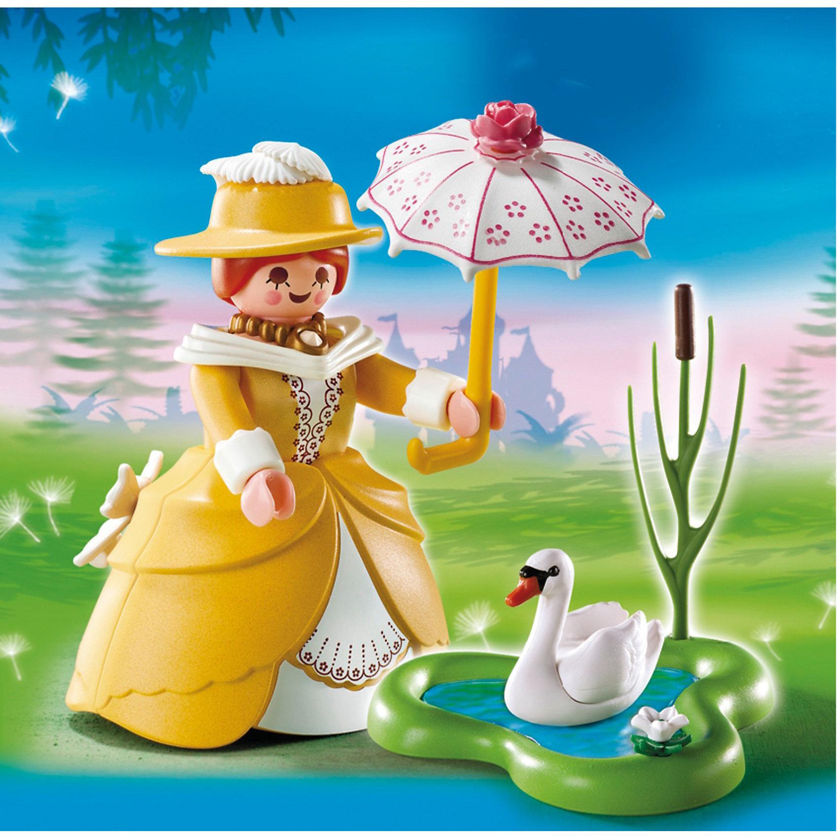 PLAYMOBIL  5410 Экстра-набор: Принцесса с прудомПластмассовые конструкторы<br>Принцесса с прудом – фигурка красивой девочки в элегантном платье.<br>Каждая девочка мечтает иметь в подружках настоящую принцессу. <br>Игровые наборы Playmobil помогут придумать историю и поучаствовать в игровом действе. <br>Маленькая принцесса решила прогуляться на свежем воздухе, она надела красочное солнечное платье, такого же цвета модную шляпку и взяла в руки ажурный зонтик. <br>Гуляя по парку, девочка увидела пруд и подошла к нему, там плавал белоснежный красавец лебедь. <br>Сначала лебедь плыл посередине пруда, а когда подошла принцесса, подплыл к берегу, чтобы она его покормила. <br>В игровой набор от Playmobil вошли красавица-принцесса, шляпка, зонтик, пруд с камышом, лебедь.<br>Девочка может построить настоящий парк, где будет гулять ее подружка – принцесса. <br>Здесь можно кормить лебедя, отдыхать, гулять под голубым небом прикрываясь ажурным зонтиком. <br>Принцесса наденет на себя красивое легкое платье и модную шляпку, она во время обеда сможет прогуляться и насладиться солнечным днем. <br>Используя конструкторы можно придумать много интересных сюжетных сцен.<br>Игрушка учит девочку распределять свое время, находить свободную минутку для отдыха, а так же воспитывает аккуратность и развивает умение красиво одеваться и следить за своим внешним видом.<br><br>PLAYMOBIL  5410 Экстра-набор: Принцесса с прудом можно купить в нашем магазине.<br><br>Ширина мм: 133<br>Глубина мм: 101<br>Высота мм: 35<br>Вес г: 77<br>Возраст от месяцев: 48<br>Возраст до месяцев: 120<br>Пол: Женский<br>Возраст: Детский<br>SKU: 2554728