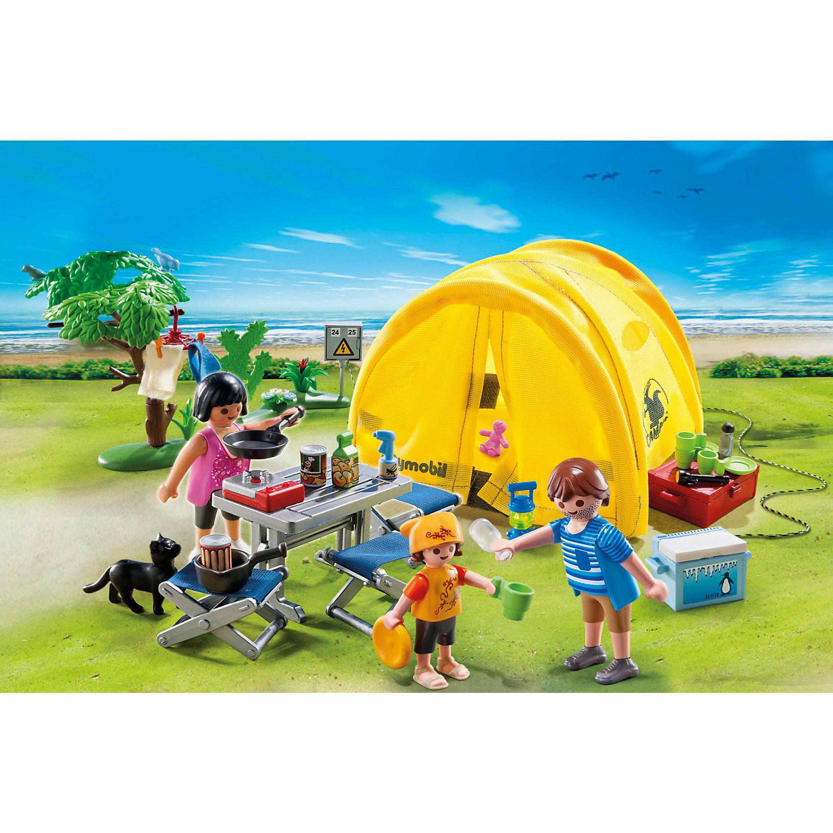 PLAYMOBIL  5435 Каникулы: Семья и палаткаНабор «Каникулы: Семья и палатка» подарит ребенку много приятных минут<br>«Каникулы: Семья и палатка» - занимательный конструктор от Playmobil (Плеймобил) станет интересным и полезным подарком для ребенка. <br>С помощью этого набора малыш быстро придумает и реализует сюжет и увлечется игрой. <br>Красочные конструкторы с подвижными элементами фигурок и все нужные предметы, аксессуары на природе отразят правдоподобный активный отдых с семьей и палаткой, необходимой для ночлега или укрытия от непогоды. <br>Кисти фигурок сделаны таким образом, чтобы в них вставлялись различные предметы мелкого назначения. <br>Серия «Каникулы» относится к категории сюжетно-ролевых игр. <br>В комплекте имеются фигурки мамы, папы и ребенка, фигурка кошки, мебель для отдыха на природе, керосиновая лампа, складная палатка, карта, посуда и коврики. <br>Высота фигурки взрослого человека 7,5 см, ребенка 5 см. <br>Набор «Семья и палатка» развивает любовь к путешествиям у детей с маленьких лет. <br>В процессе игры с помощью мелких деталей и аксессуаров тренируется мелкая моторика. <br>Веселые модели на основе воображения подскажут много интересных сюжетов для игр. <br>В процессе игры концентрируется внимание, работает логическое мышление и координация движения. <br>Мелкие элементы потребуют от ребенка внимательного отношения к игре и способствуют развитию разных навыков.<br><br>PLAYMOBIL  5435 Каникулы: Семья и палатка можно купить в нашем магазине.<br><br>Ширина мм: 256<br>Глубина мм: 203<br>Высота мм: 81<br>Вес г: 338<br>Возраст от месяцев: 48<br>Возраст до месяцев: 120<br>Пол: Унисекс<br>Возраст: Детский<br>SKU: 2554749