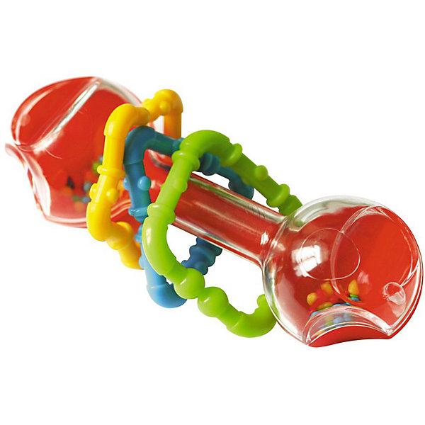 Погремушка ГантелькаИгрушки для новорожденных<br>Погремушка Гантелька - яркая и красивая погремушка для вашего малыша. <br><br>Погремушка выполнена в форме прозрачной гантельки, внутри которой находятся маленькие желтые шарики, а на ручке гантельки одеты 3 пластиковые игрушки - квадратик, треугольник и звездочка - их можно погрызть в период прорезывания зубов!<br><br>Игрушка развивает сенсорику, моторику, цветовое и слуховое восприятие малыша.<br><br><br>Дополнительная информация:<br><br>- Материалы: пластмасса.<br>- Размеры: 100*60*120 мм.<br><br>Ширина мм: 100<br>Глубина мм: 60<br>Высота мм: 120<br>Вес г: 100<br>Возраст от месяцев: 3<br>Возраст до месяцев: 24<br>Пол: Унисекс<br>Возраст: Детский<br>SKU: 2555633