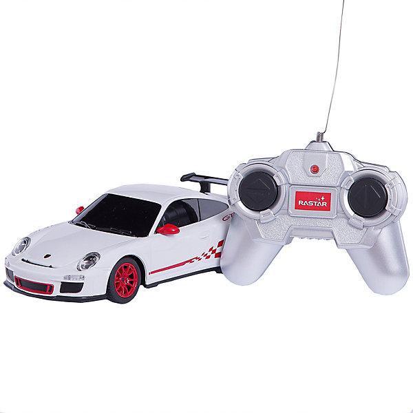 RASTAR Радиоуправляемая машина Porsche GT3 RS 1:24Радиоуправляемые машины<br>RASTAR Радиоуправляемая машина Porsche GT3, в ассортименте - игрушка, которая наверняка приведет в восторг юного любителя настоящих, взрослых автомобилей: эта радиоуправляемая машина - уменьшенная копия настоящего Порше! <br><br>Модель выполнена в масштабе 1: 24.<br><br>Особенности игрушки:<br><br>- Работает на частоте: 27MHz; <br>- Движение вперед, назад, вправо, влево; <br>- Контроль управления: 15 - 45 метров; <br>- Развивает скорость до: 7 км/ч; <br>- Светятся фары. <br>- Цвет: Черный<br><br>Дополнительная информация:<br><br>- Для работы требуются батарейки: 5 Х АА (не входят в комплект).<br>- Материалы: пластмасса, металл.<br>- Размер: 18 см.<br>- Размер упаковки: 38,5х12х10 см.<br>- Вес: 480 г.<br><br>ВНИМАНИЕ! Данный товар представлен в черном цветом исполнении.<br><br>Ширина мм: 385<br>Глубина мм: 120<br>Высота мм: 100<br>Вес г: 480<br>Возраст от месяцев: 72<br>Возраст до месяцев: 1188<br>Пол: Мужской<br>Возраст: Детский<br>SKU: 2557181